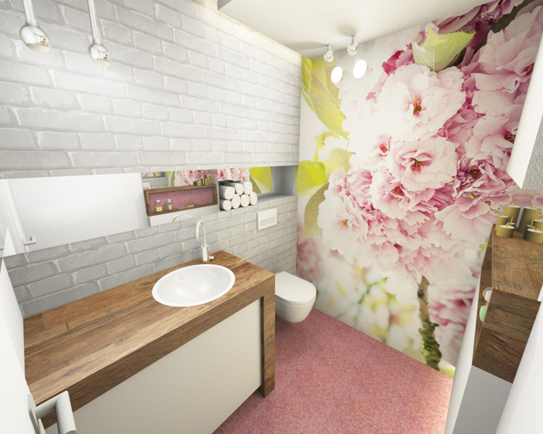 3d Visualisierung Gaste Wc Feminin Rosa Florale Tape