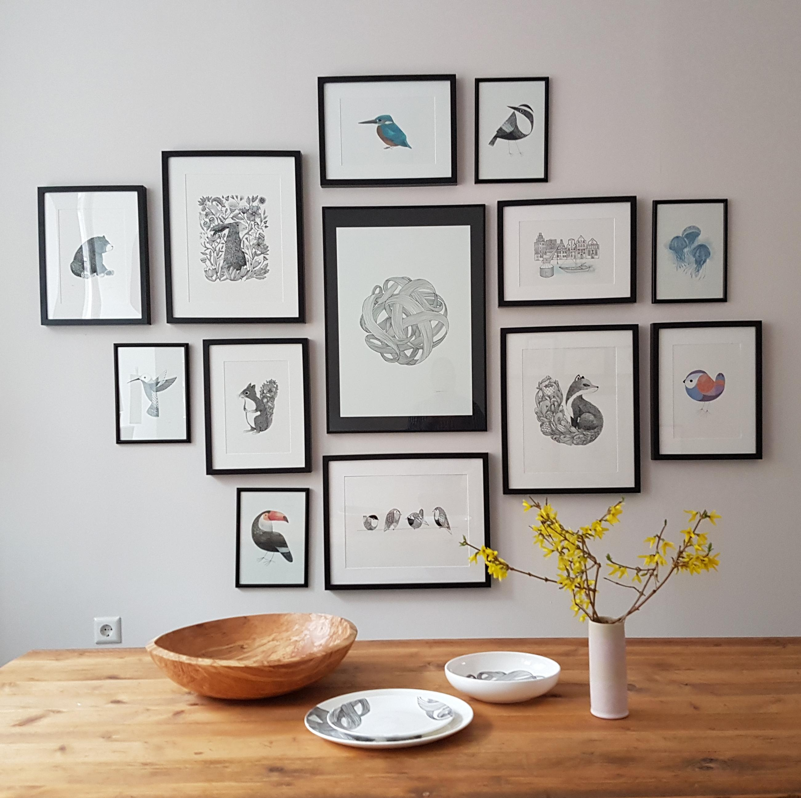 A wall in my shop. If in Lüneburg, stop on by! #stilllife #prints #Frame #gallerywall #prints