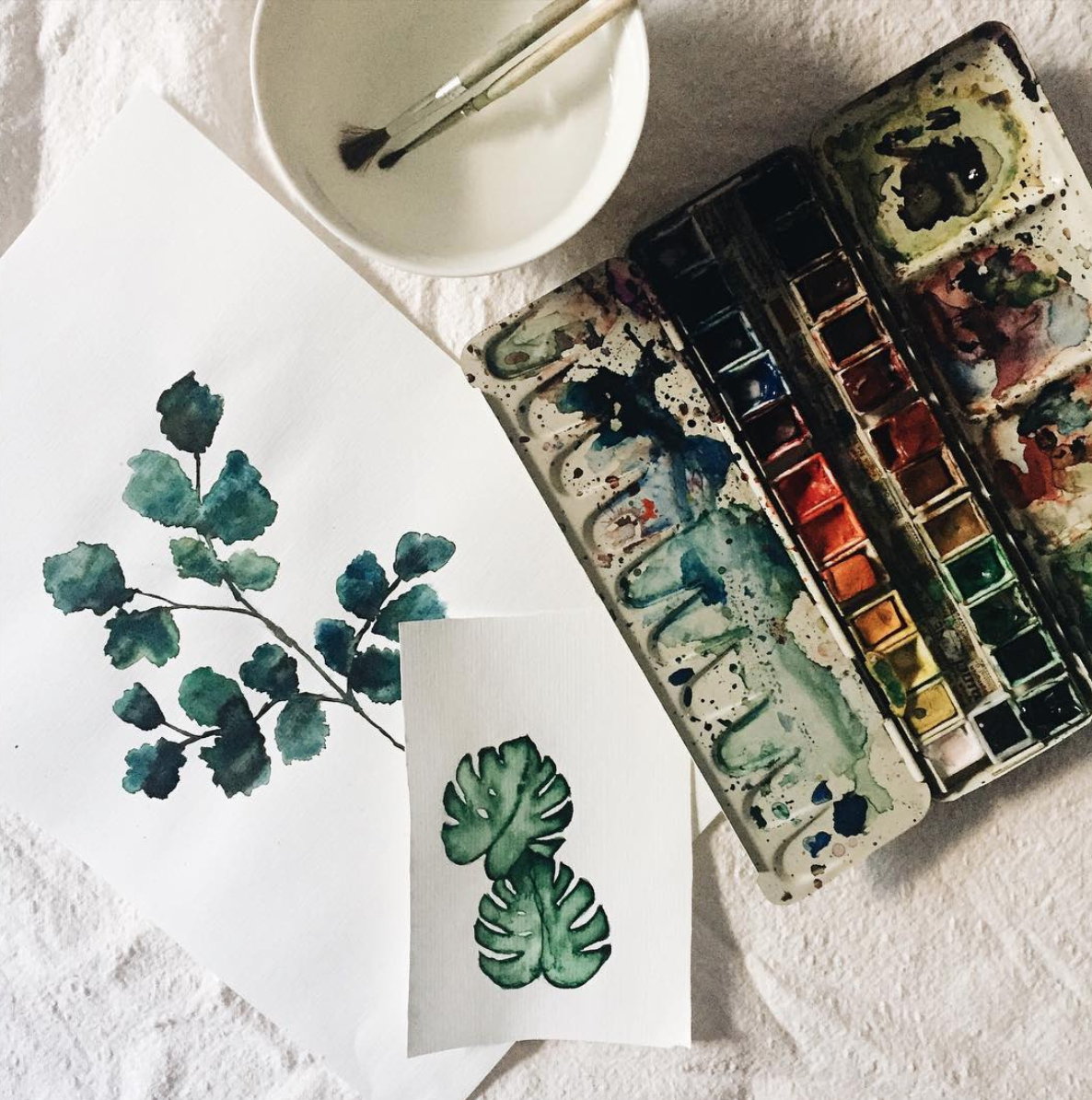 Aktuelles DIY Projekt #painting #watercolor #aquarelle #monstera #home #design #creative #diy #hamburg