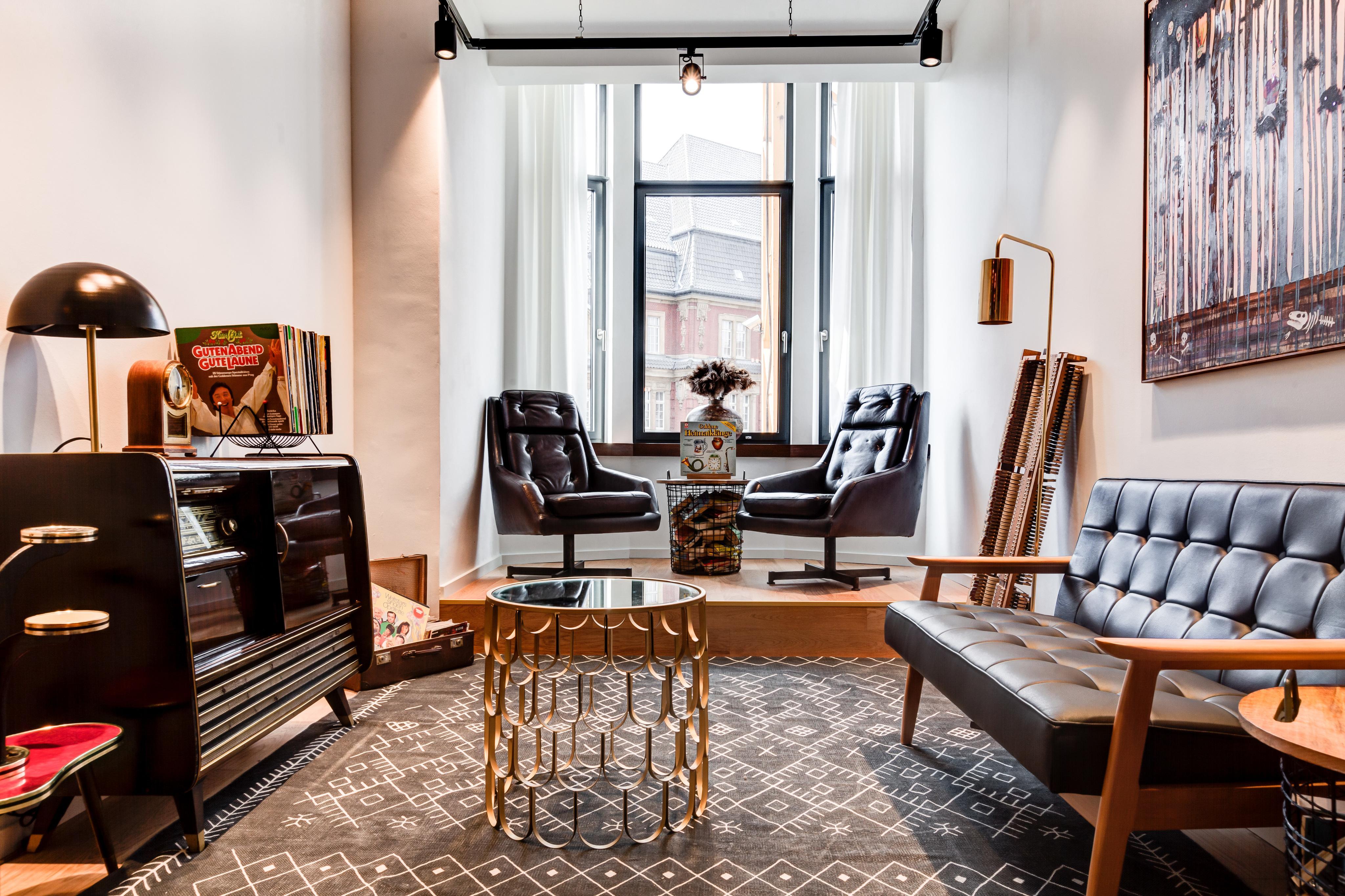 Arbeitszimmer Im Retro Stil Teppich Sessel Sofa