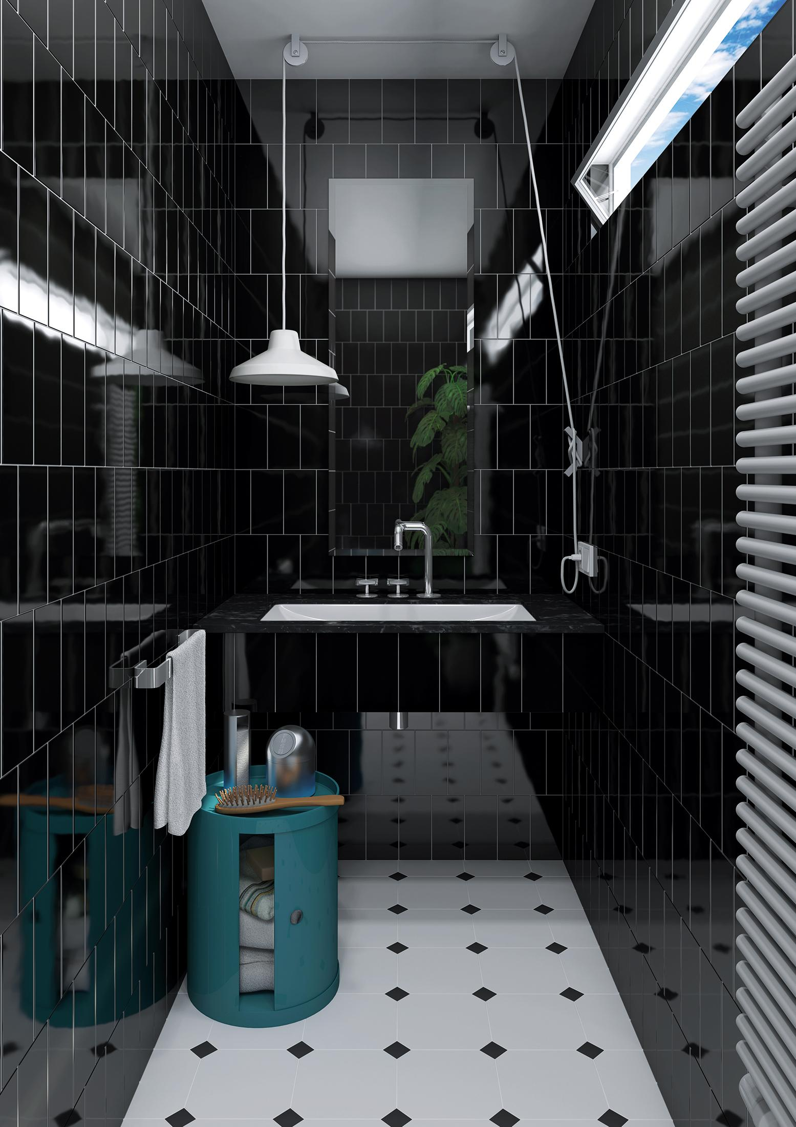 Badezimmer Mit Schwarzen Metro Fliesen #beistelltisch #waschtisch  #waschbecken #pendelleuchte #zimmergestaltung
