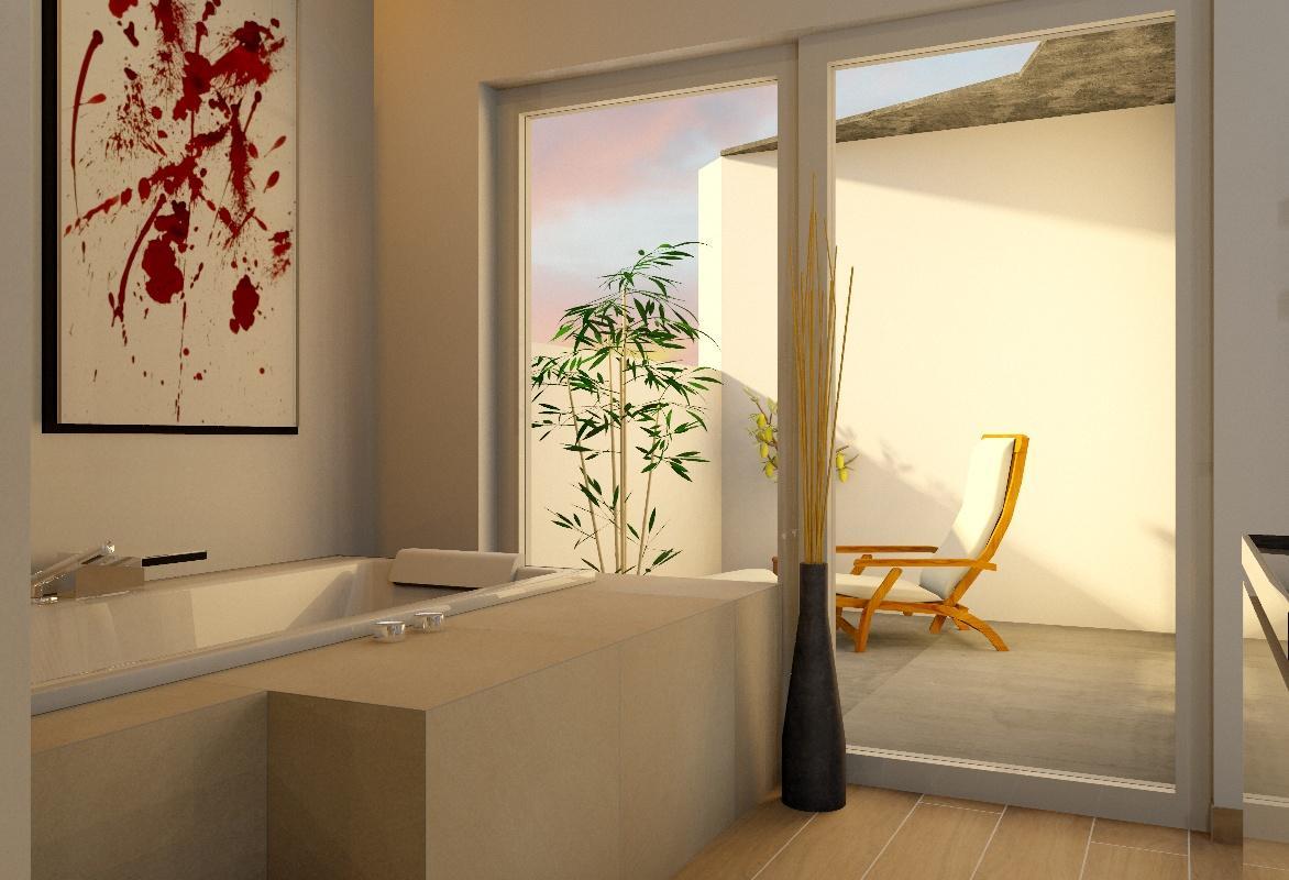 Badezimmer Mit Terasse #badewanne #bodenvase ©my Lovely BATH Planer