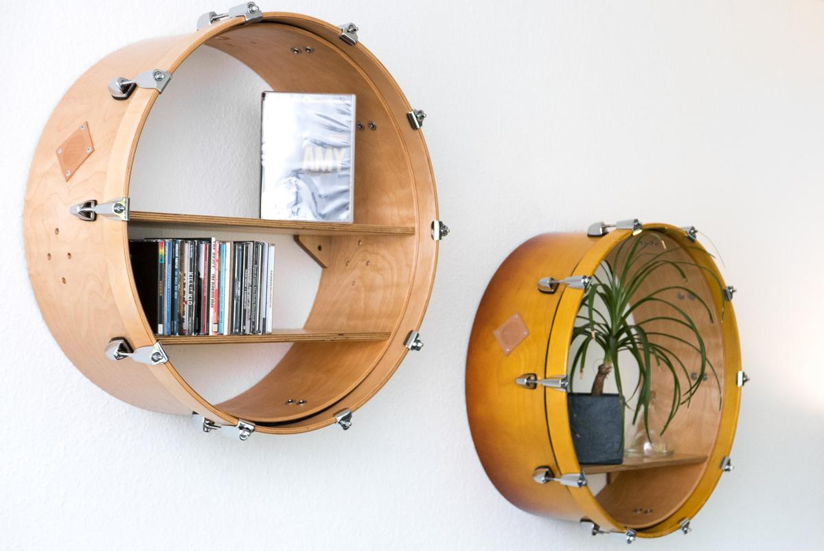 "Bassdrum Wandregale ""Woodkid"" und ""Come Around Sundown"" #wandregal #upcycling ©Furniture Rocks"