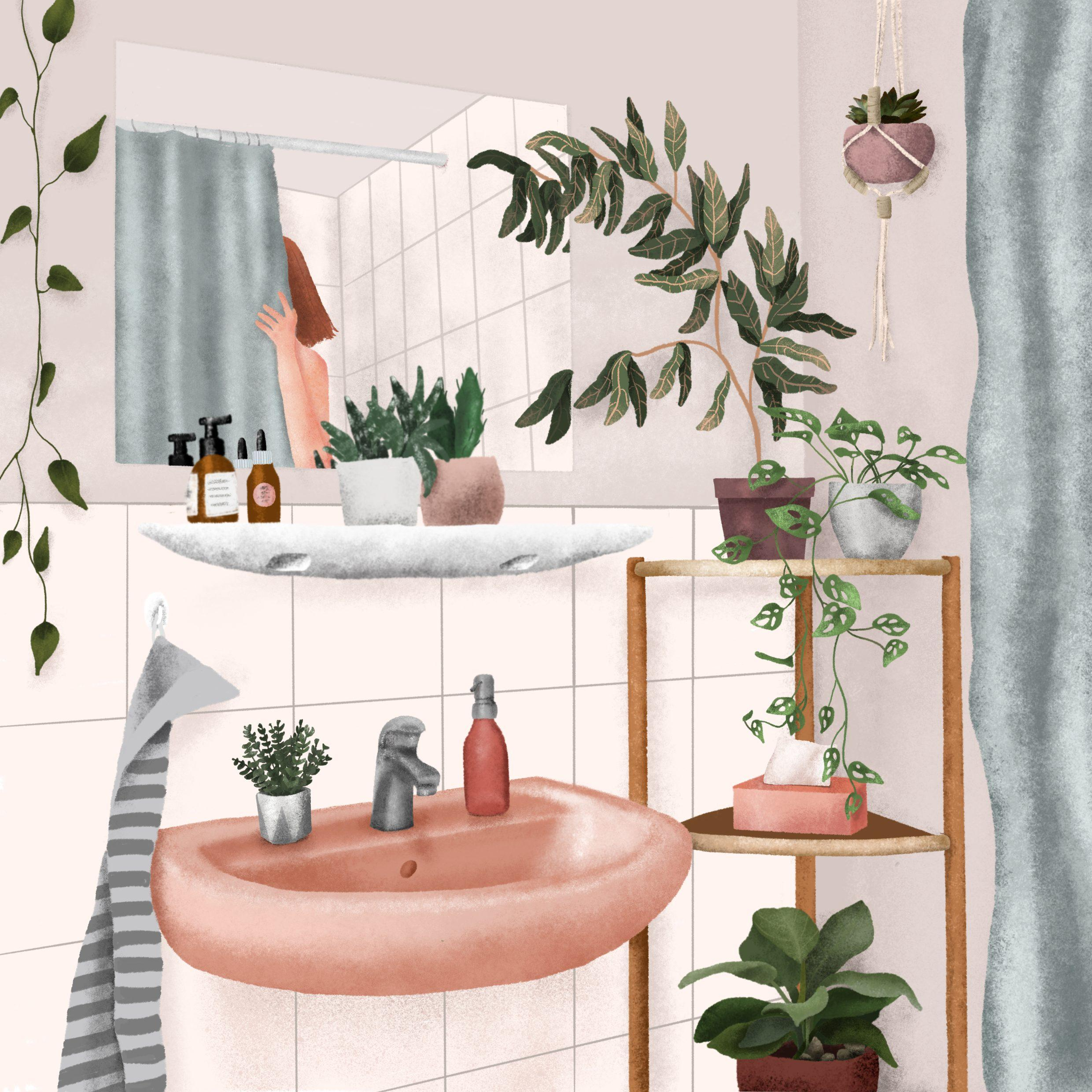 Beautyday :) #badezimmer #deko #bathroom #bad #illustration #plants #pflanzen #frühling #green