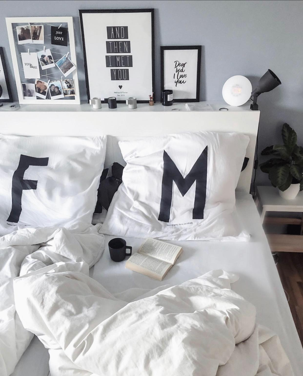 #bedroom #sundaymorning #coffee #bed #interior #designletters #skandi #blackandwhite