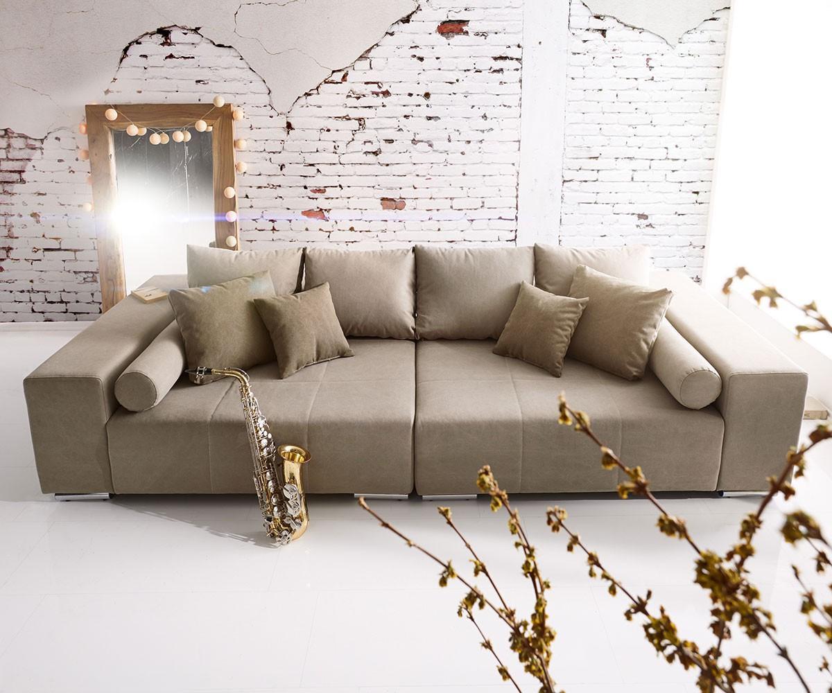 Big Sofa Marbeya 280X115 Cm Grau Braun 10 Kissen #Ec