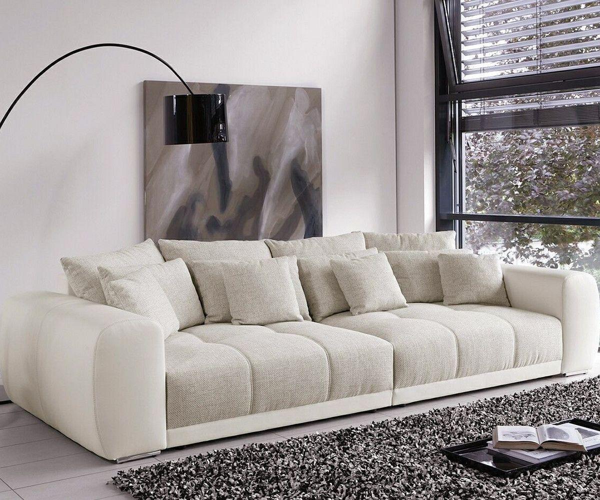 Big-Sofa Valeska 310X135 Cm Grau Beige Mit 12 Kissen