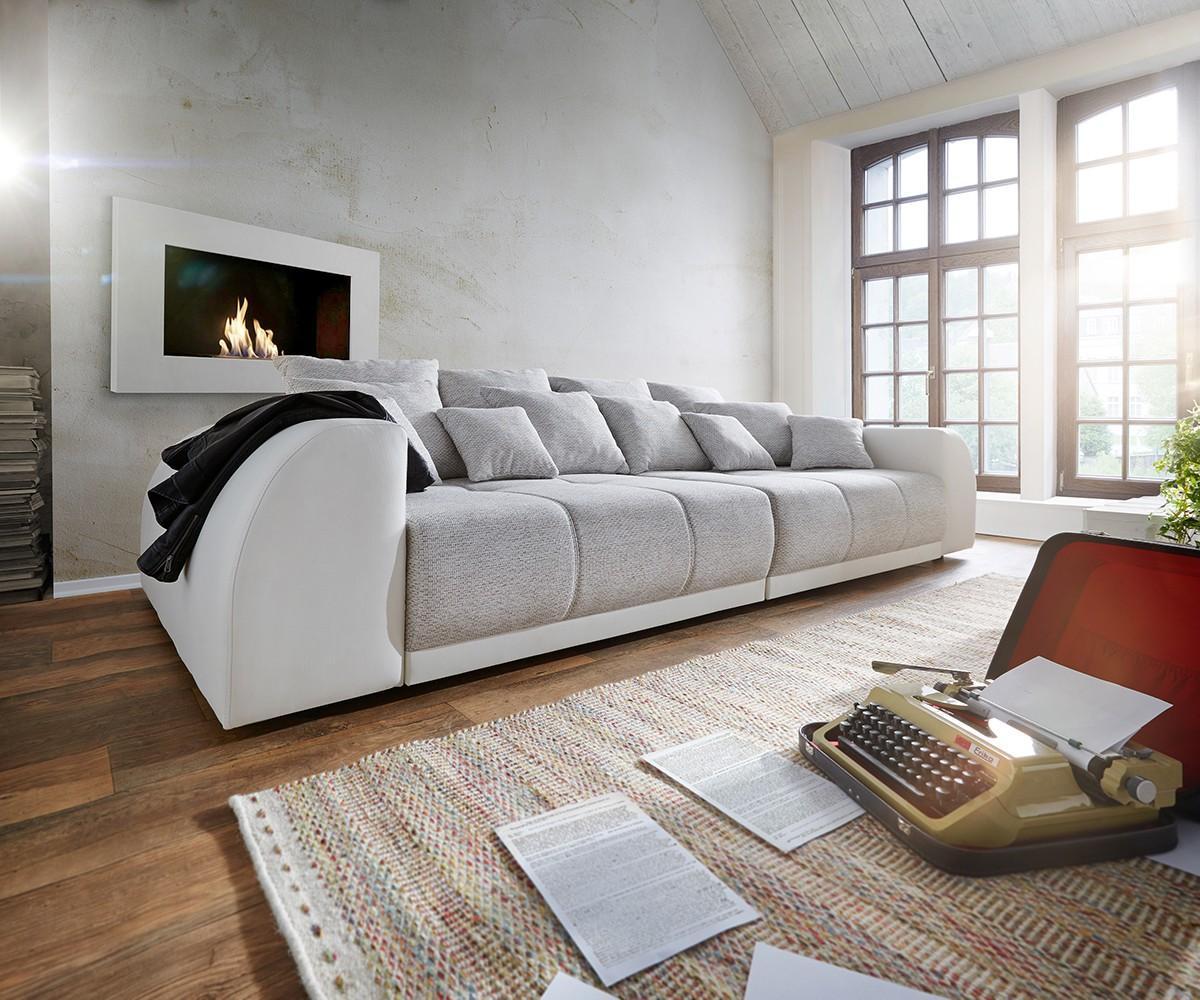 Wohnlandschaft hellgrau  Big Sofa Violetta 310x135 Creme Hellgrau mit 12 Kiss...