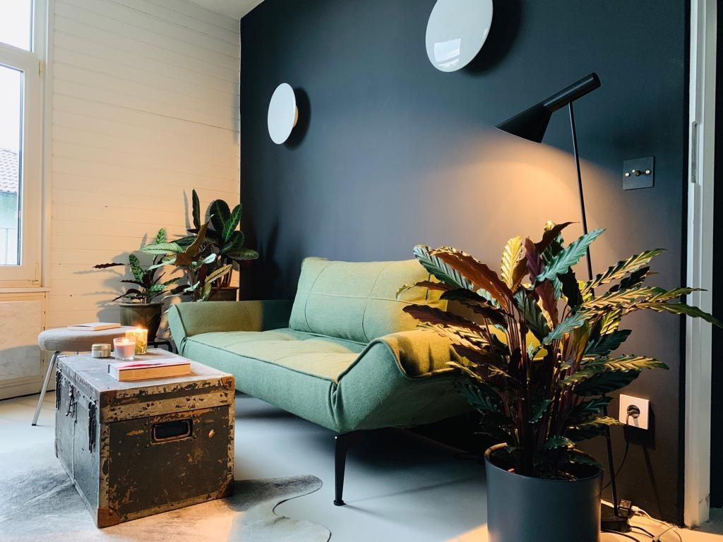 Black is beautiful. #livingwithplants #gästecouch #louispoulsen #vintagestyle #frischrenoviert #blackwall #makeover