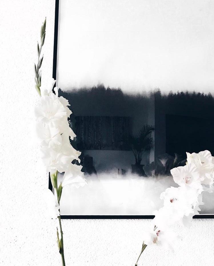 Fantastisch #Blackanwhite #schwarzweiß #hygge #wohnzimmer #couchliebt #wandgestaltung  #interior #flowers
