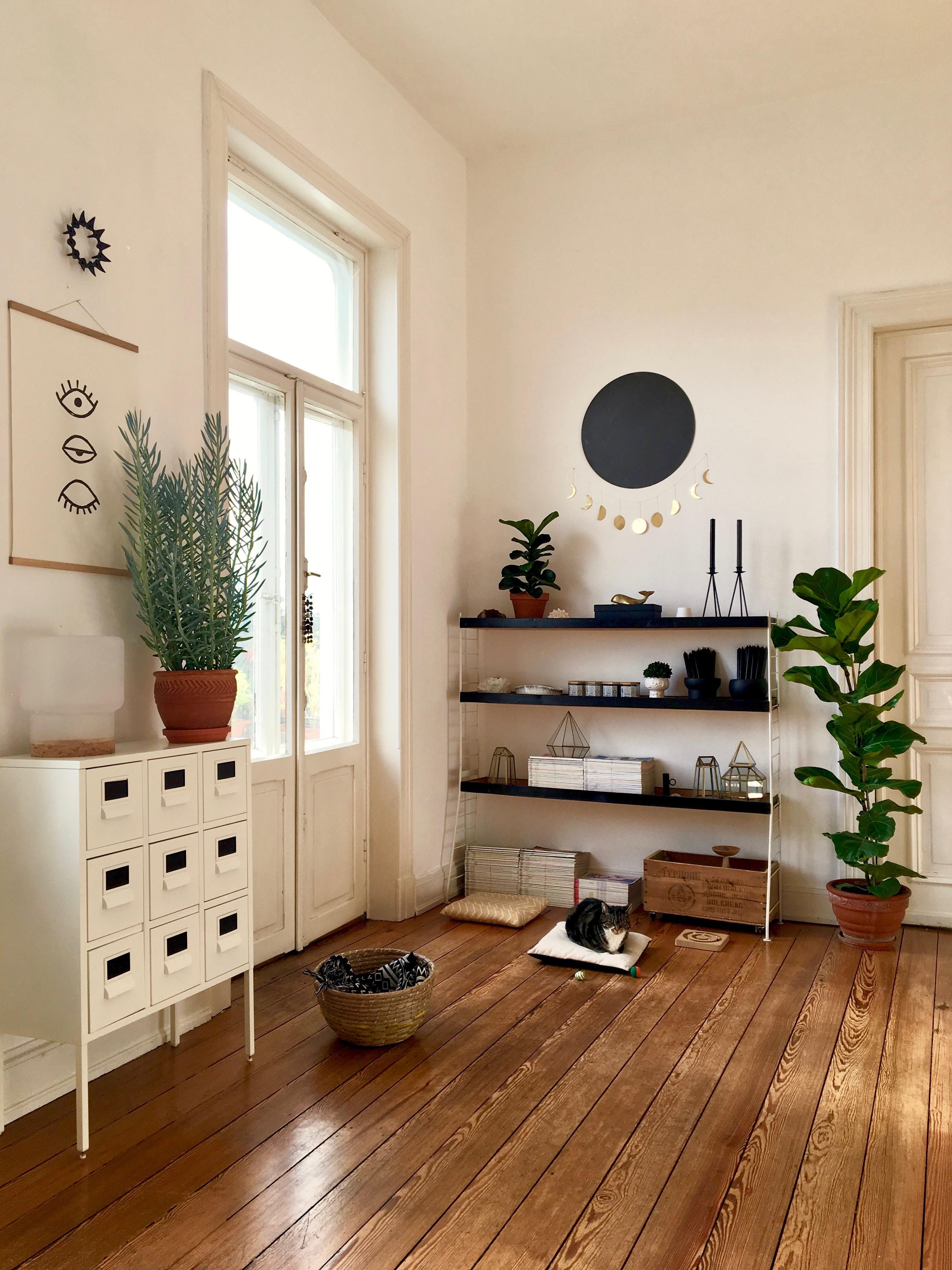 BlackMoon Wohnzimmer Holzdielen Pflanzen Mond Altbau Midcentury