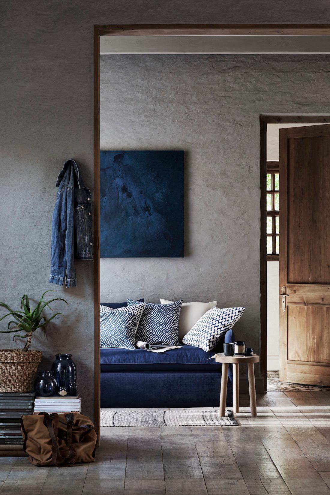 Blaue Wohnaccessoires Aus Der HM Home Spring Kollektion Wohnzimmer Sofakissen Blauessofa CHM