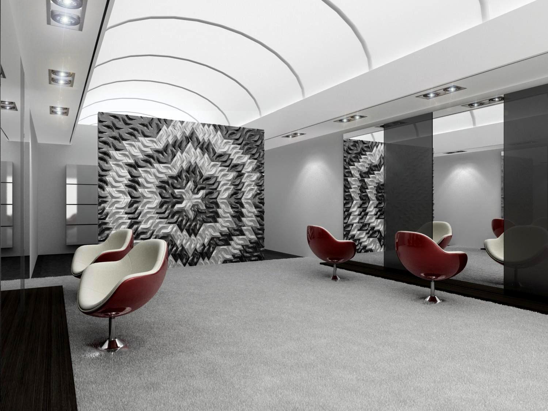 Hochwertig Büro Betonfliesen #stuhl #wandspiegel #betonfliesen #3dfliesen ©Florisa