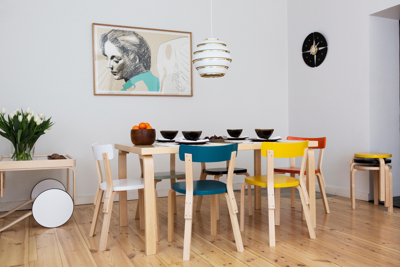 Bunte Esszimmerstühle Aus Holz Dielenboden Artek