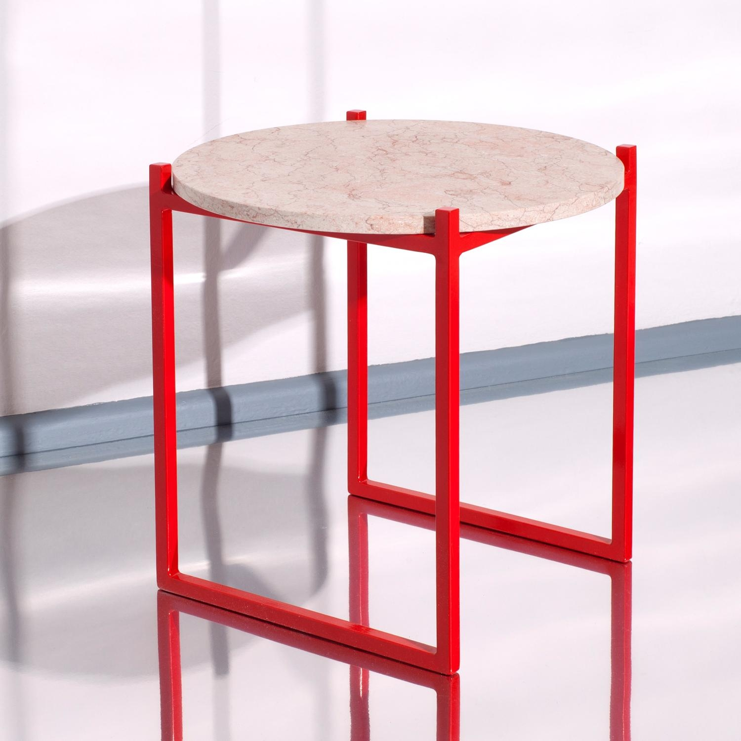 Conceptual design. Subtle material composition. Handmade in Germany. Side Table LULU with marble