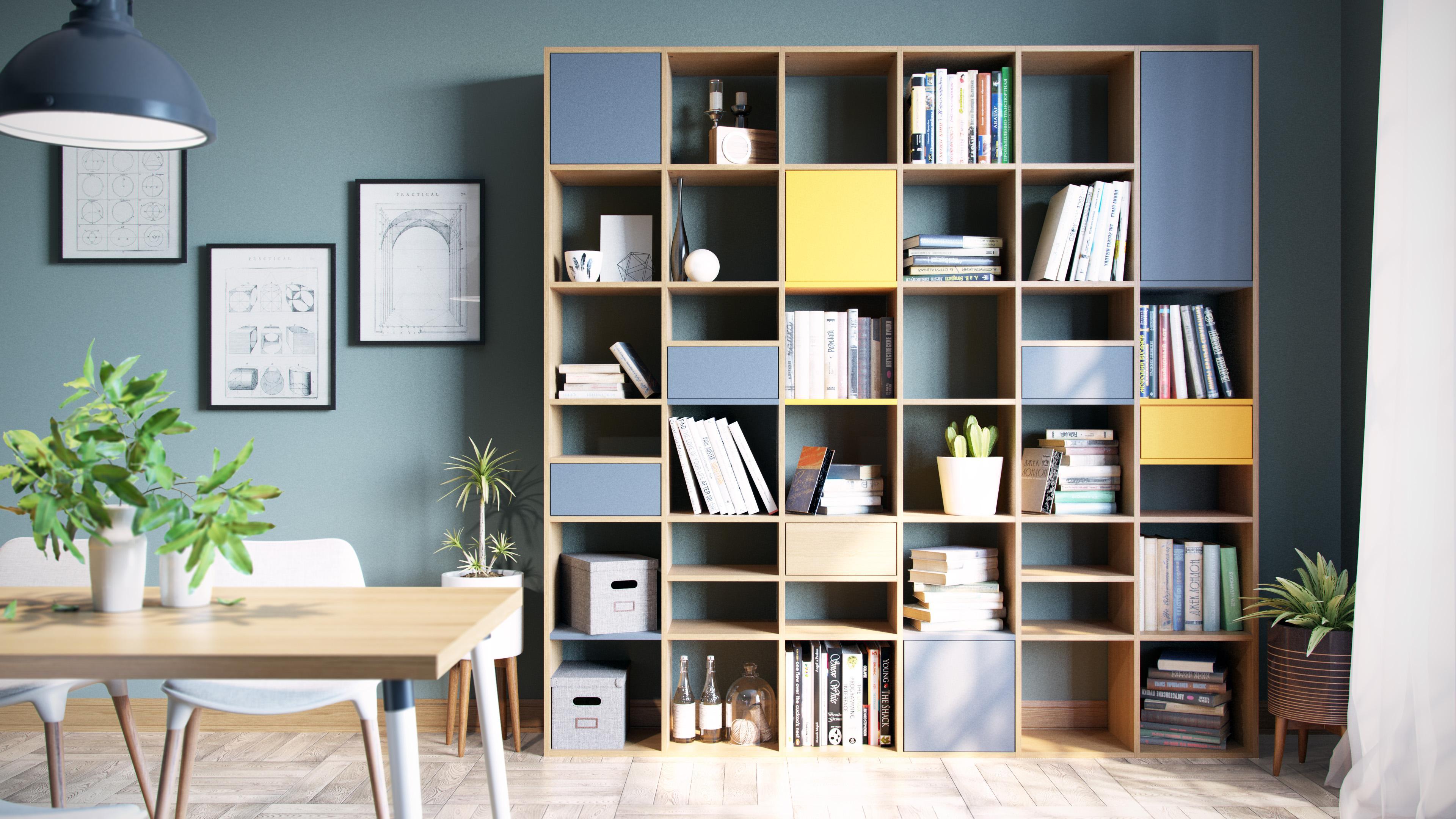 Schön Das Regalsystem In Buche Für Ihr Wohnzimmer #regal #regalsystem ©mycs GmbH
