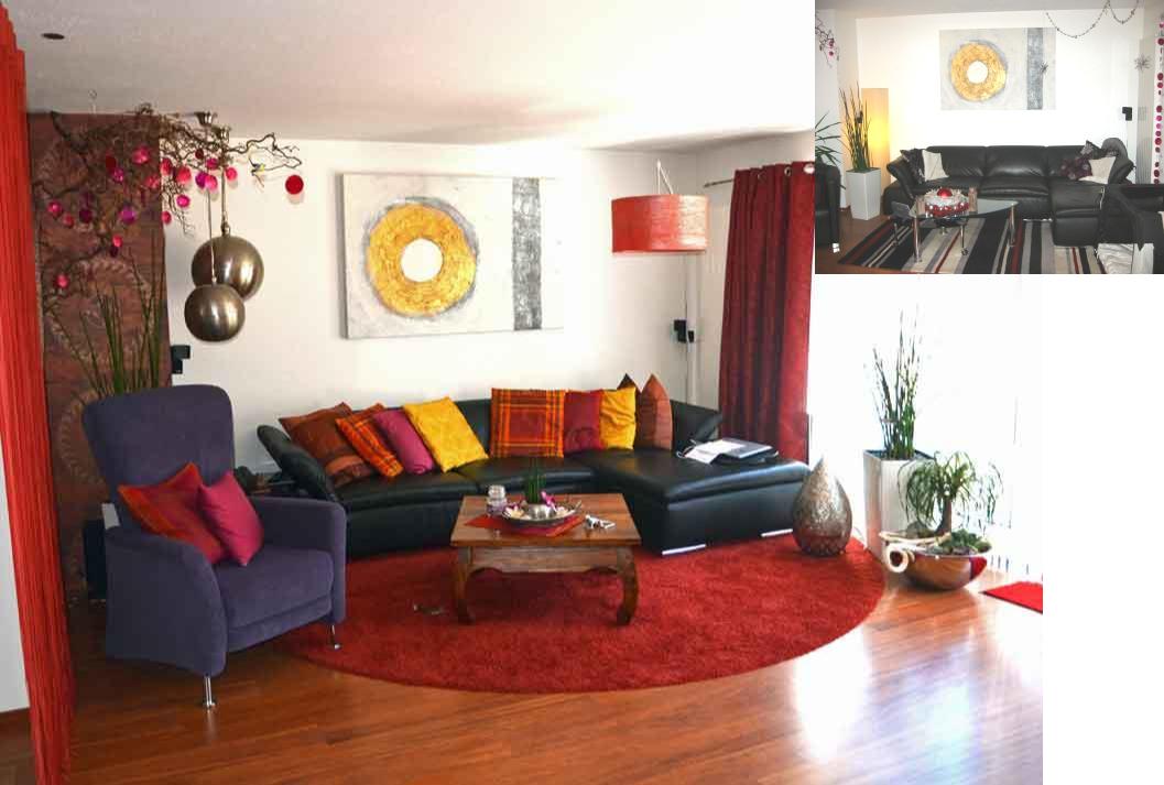 Das Wohnzimmer Vor Und Nach Der Umgestaltung Couchtisch Sessel Runderteppich
