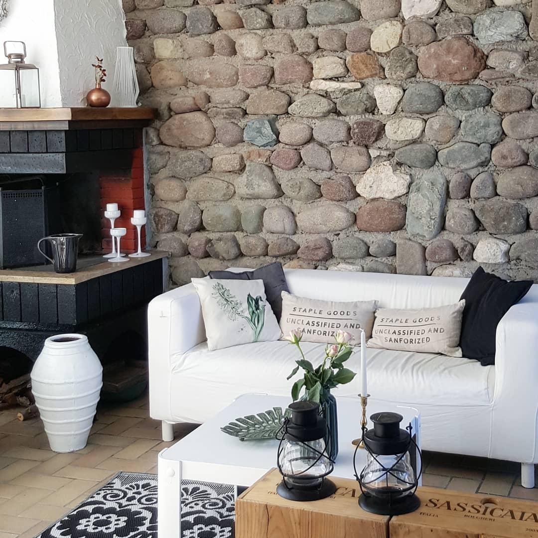 Steinwand Inspiration Wohnideen Bei Couch