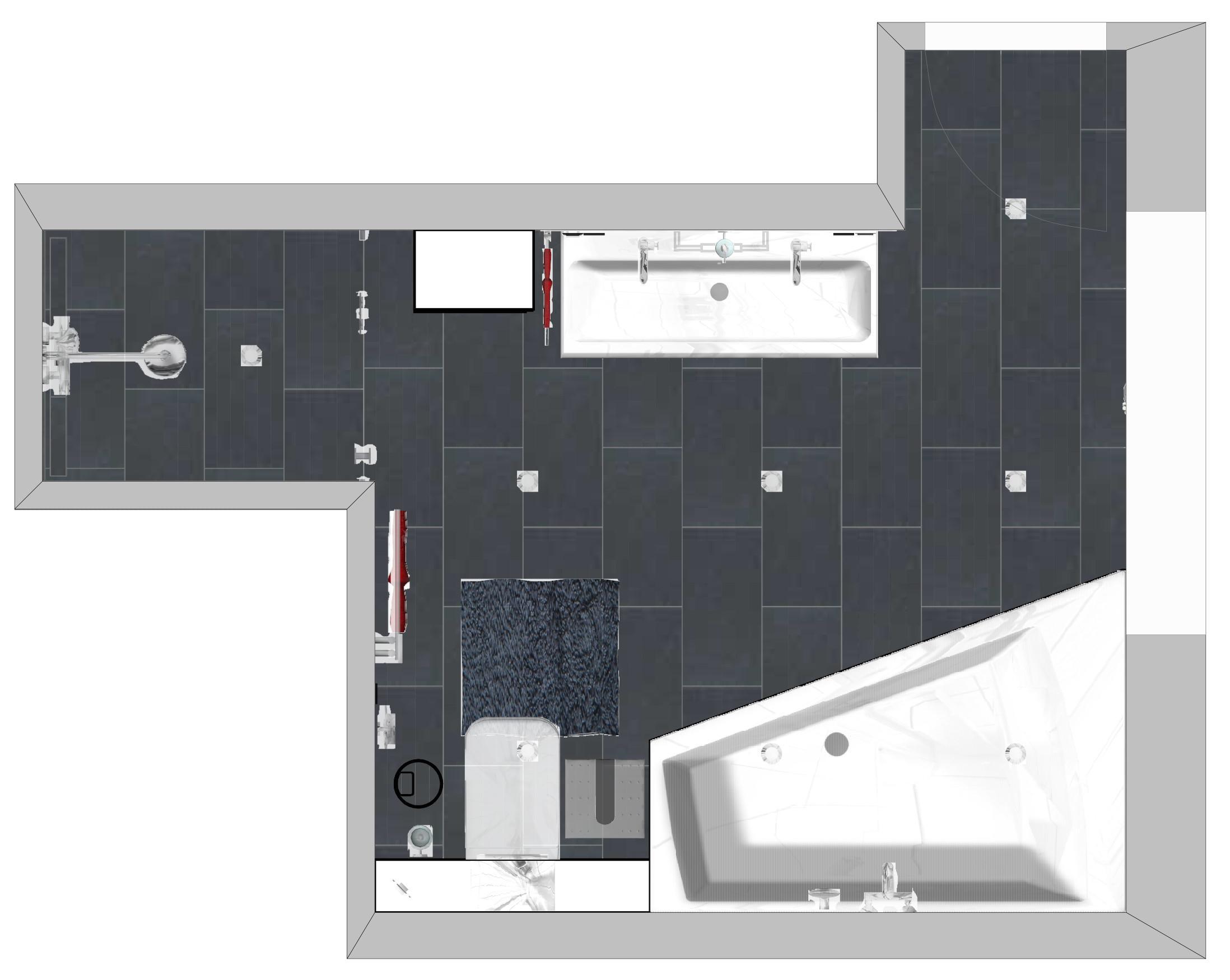 Der Grundriss Des Komplettbads #badezimmer #doppelwaschtisch  #badezimmergrundriss ©HEIMWOHL GmbH