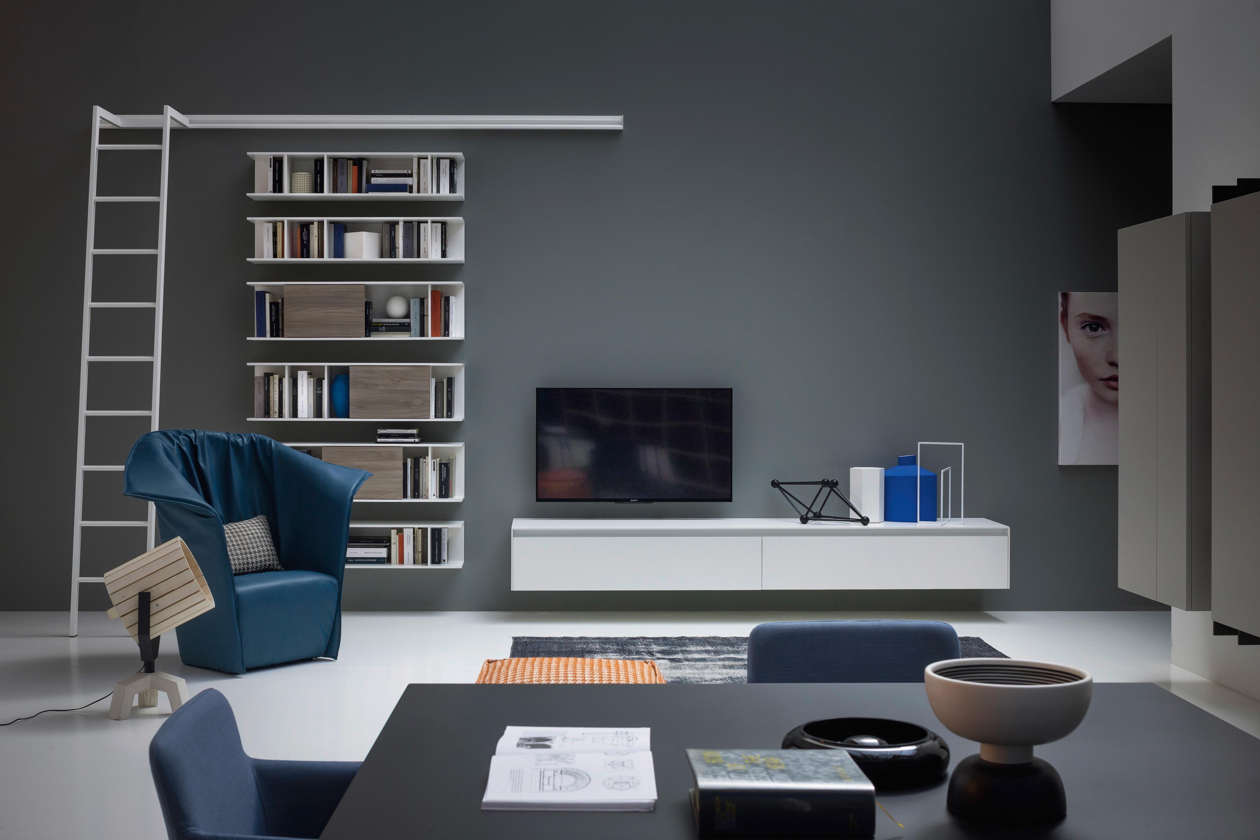 Design Bücherregal Mit Leiter Hängend Bücherregal