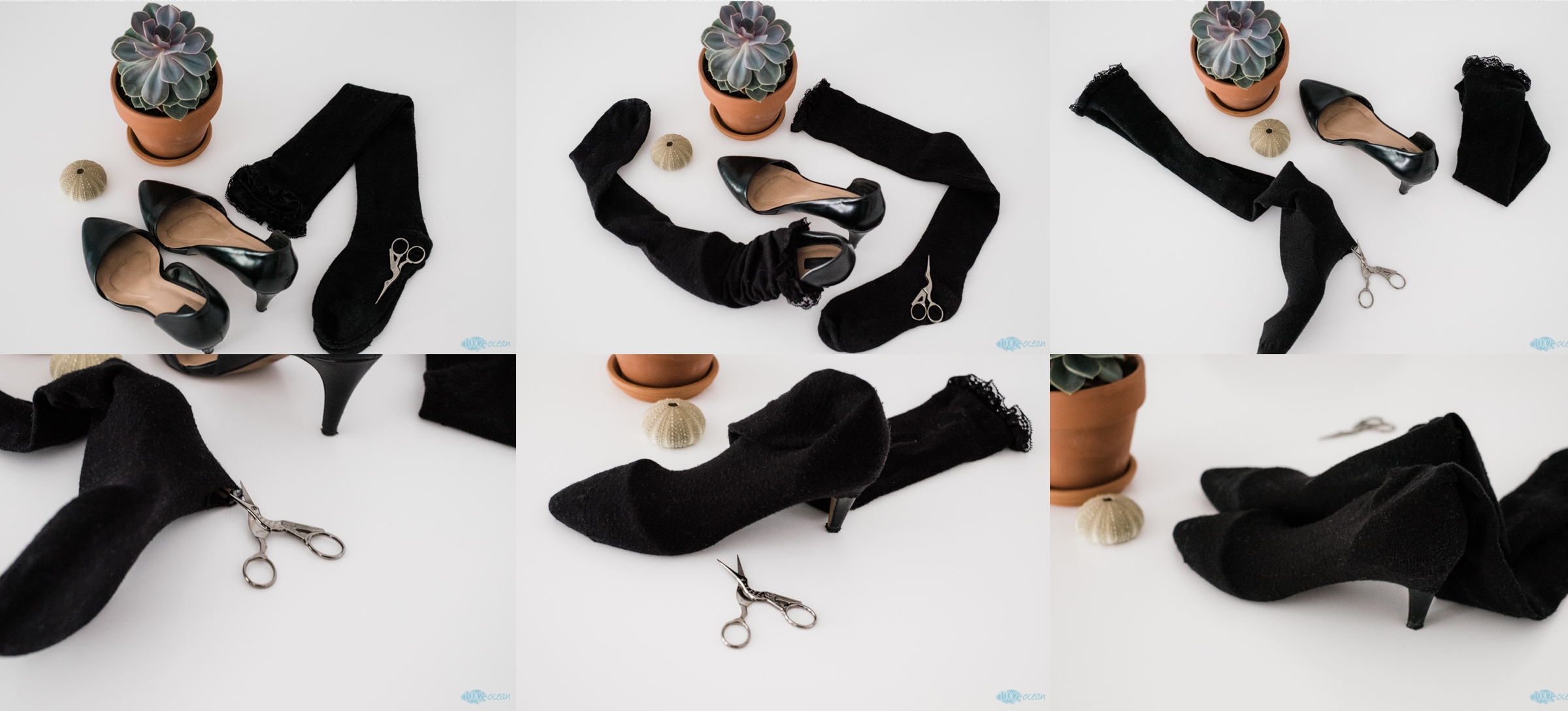 #diy #tutorial #sockboots #blacksocks #stilletos #scissors
