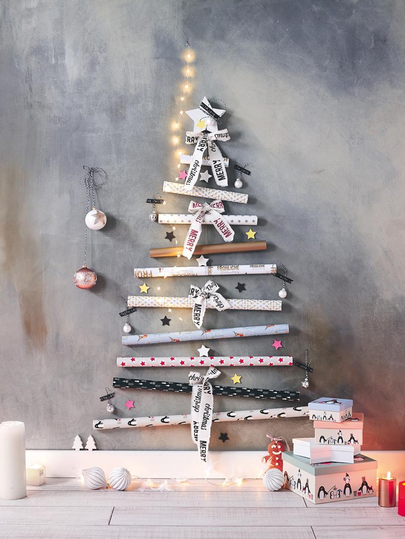 Diy Weihnachtsdeko.Diy Weihnachtsdeko Aus Geschenkpapier Wandgestaltun