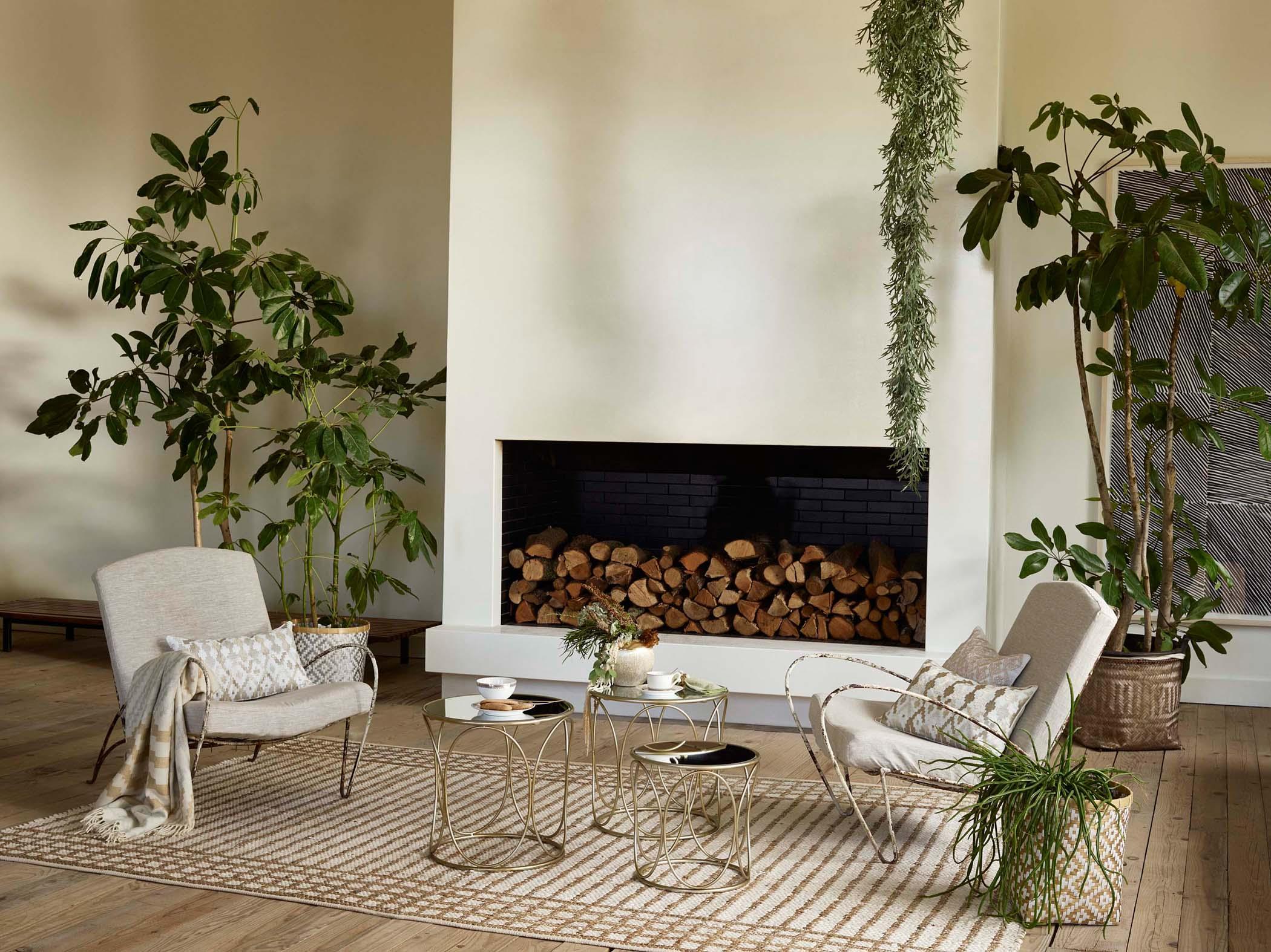 Dschungel Feeling Im Wohnzimmer #beistelltisch #teppich #kamin #sessel  #tagesdecke #