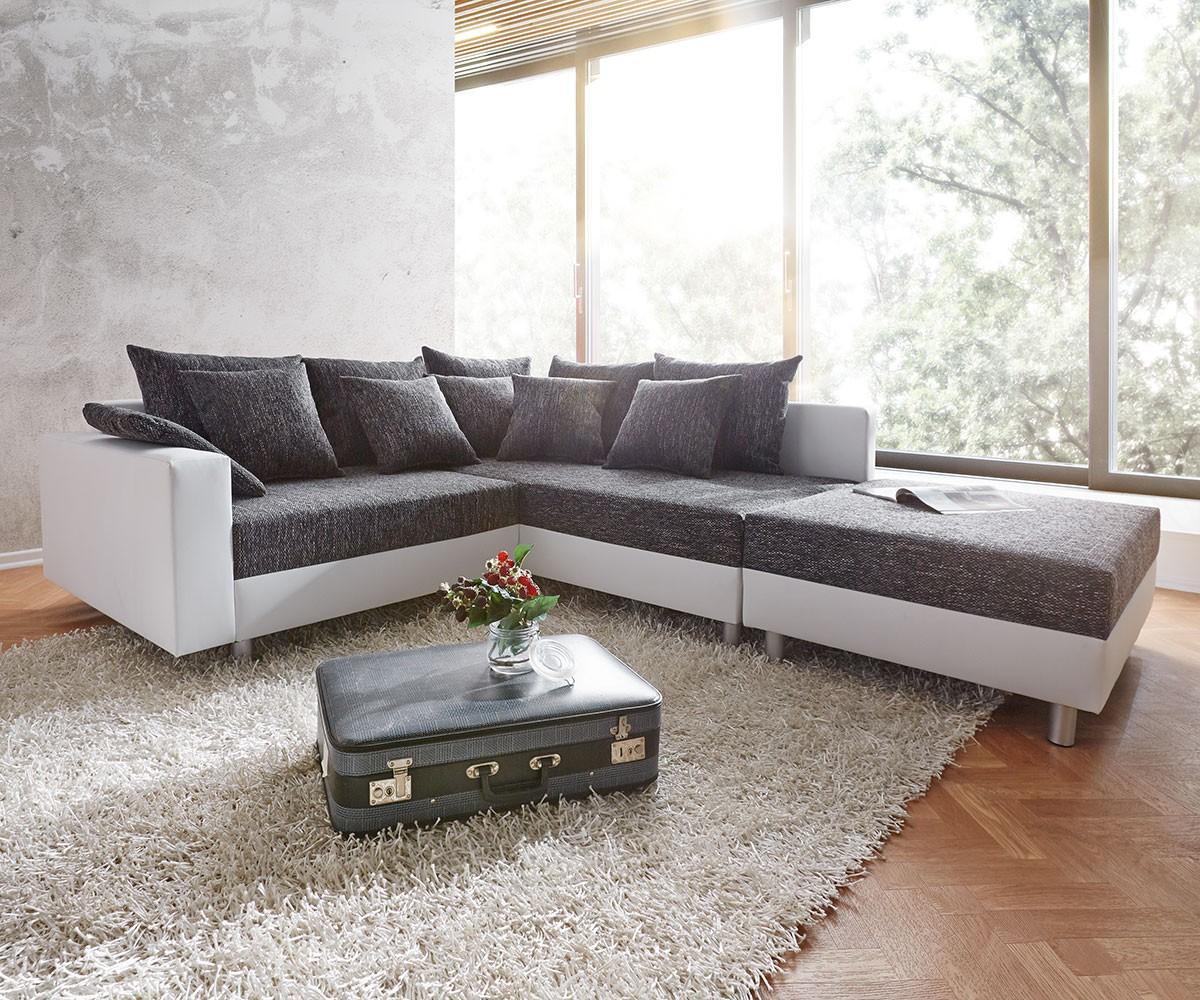 ecksofa clovis 213x185 cm weiss schwarz ottomane rec... ? couchstyle - Big Sofa Oder Wohnlandschaft