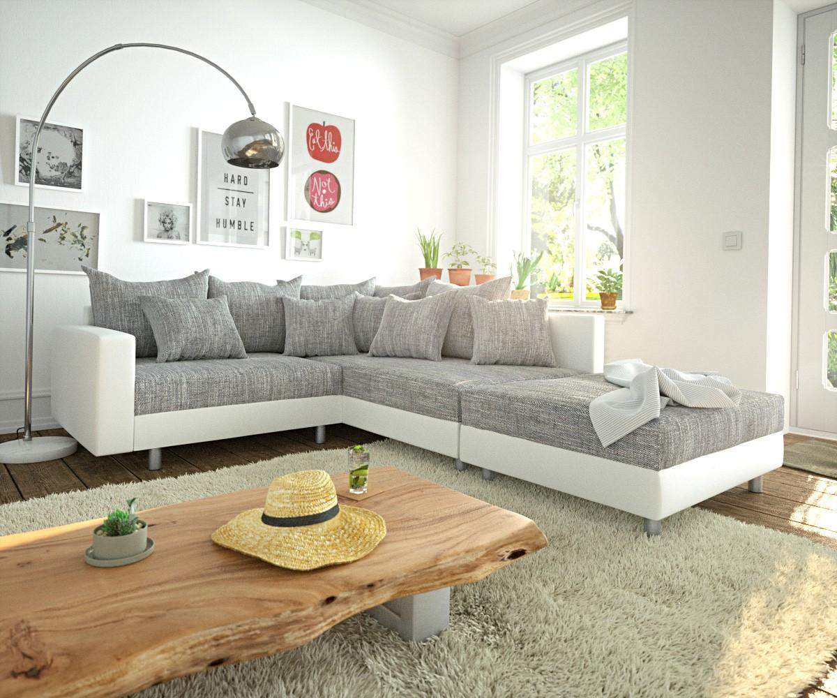 Ecksofa Clovis Weiss Hellgrau Modular Hocker Armlehne Ottomane Rechts # Ecksofa #sofa #modulsofa #