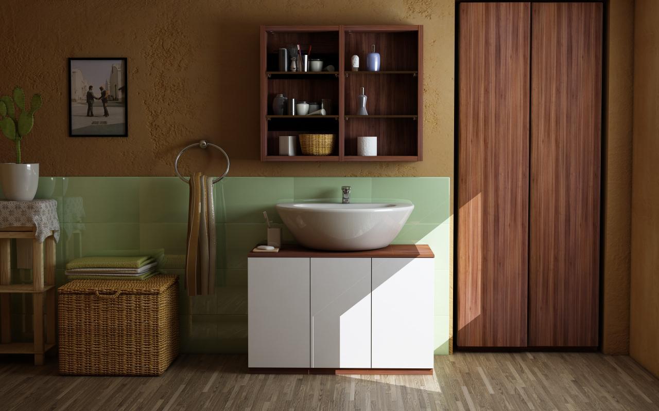 Einbauschrank Im Badezimmer #holzmöbel #schrank #badezimmerschrank  #sideboard #waschbeckenunterschrank #nische #