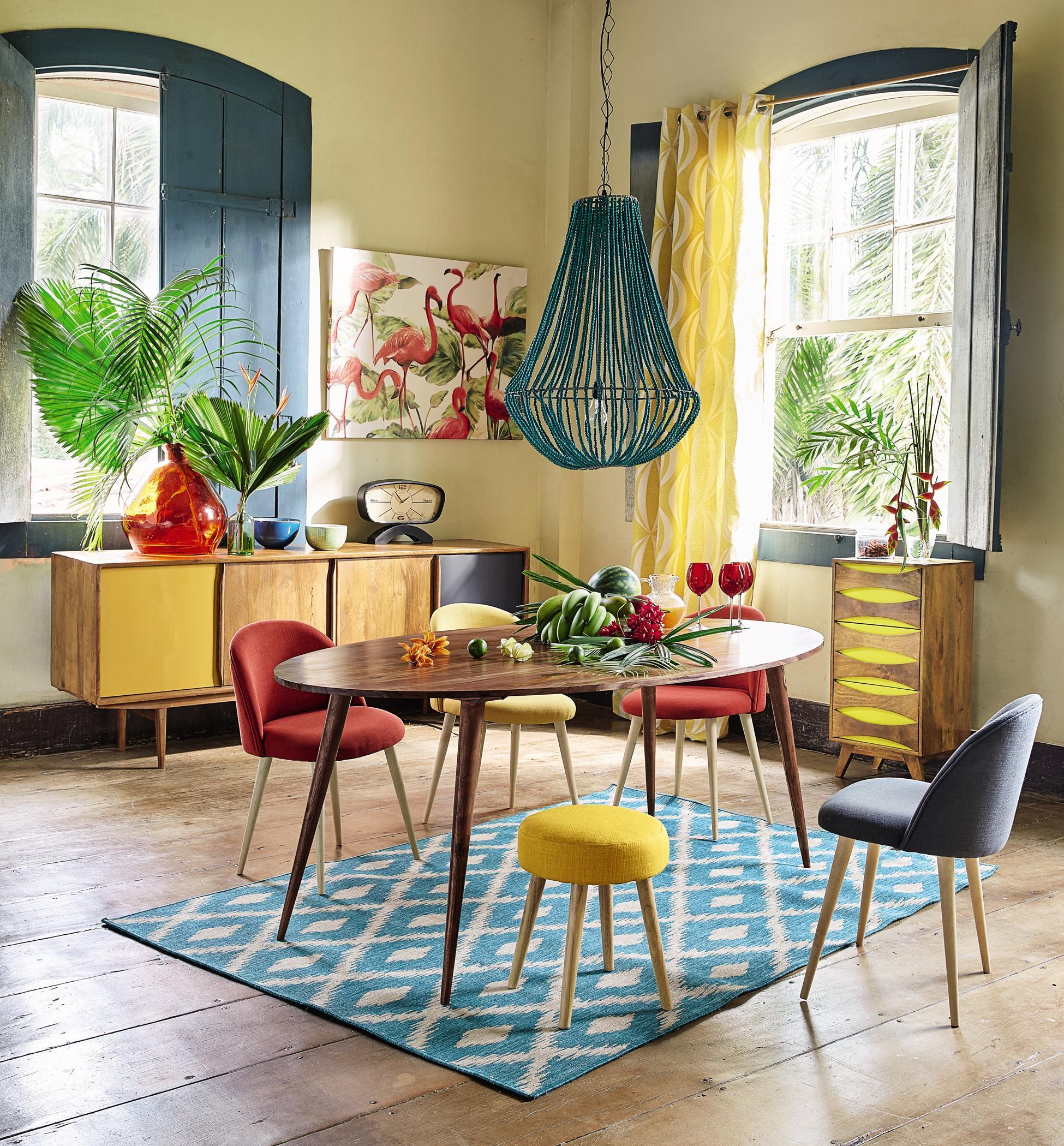 Esszimmer im farbigen Retrolook dielenboden retro ...