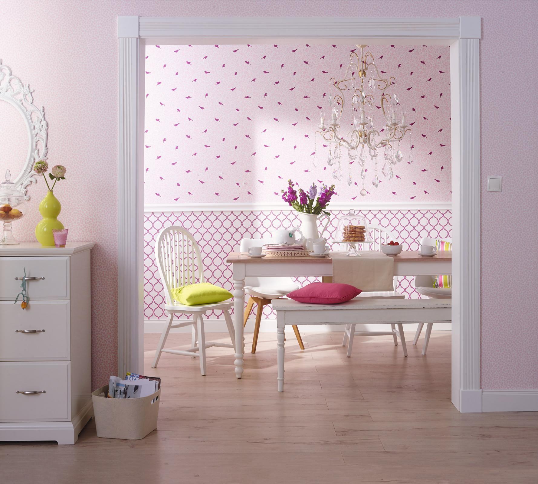wohnzimmergestaltung mustertapete bilder ideen. Black Bedroom Furniture Sets. Home Design Ideas