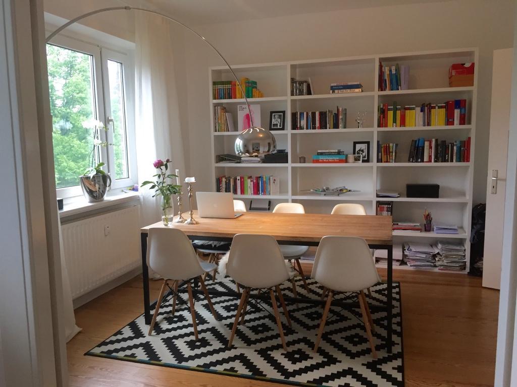 Esszimmer Und Lernzimmer #bogenlampe #altbau #ikea #zimmergestaltung ©Carina