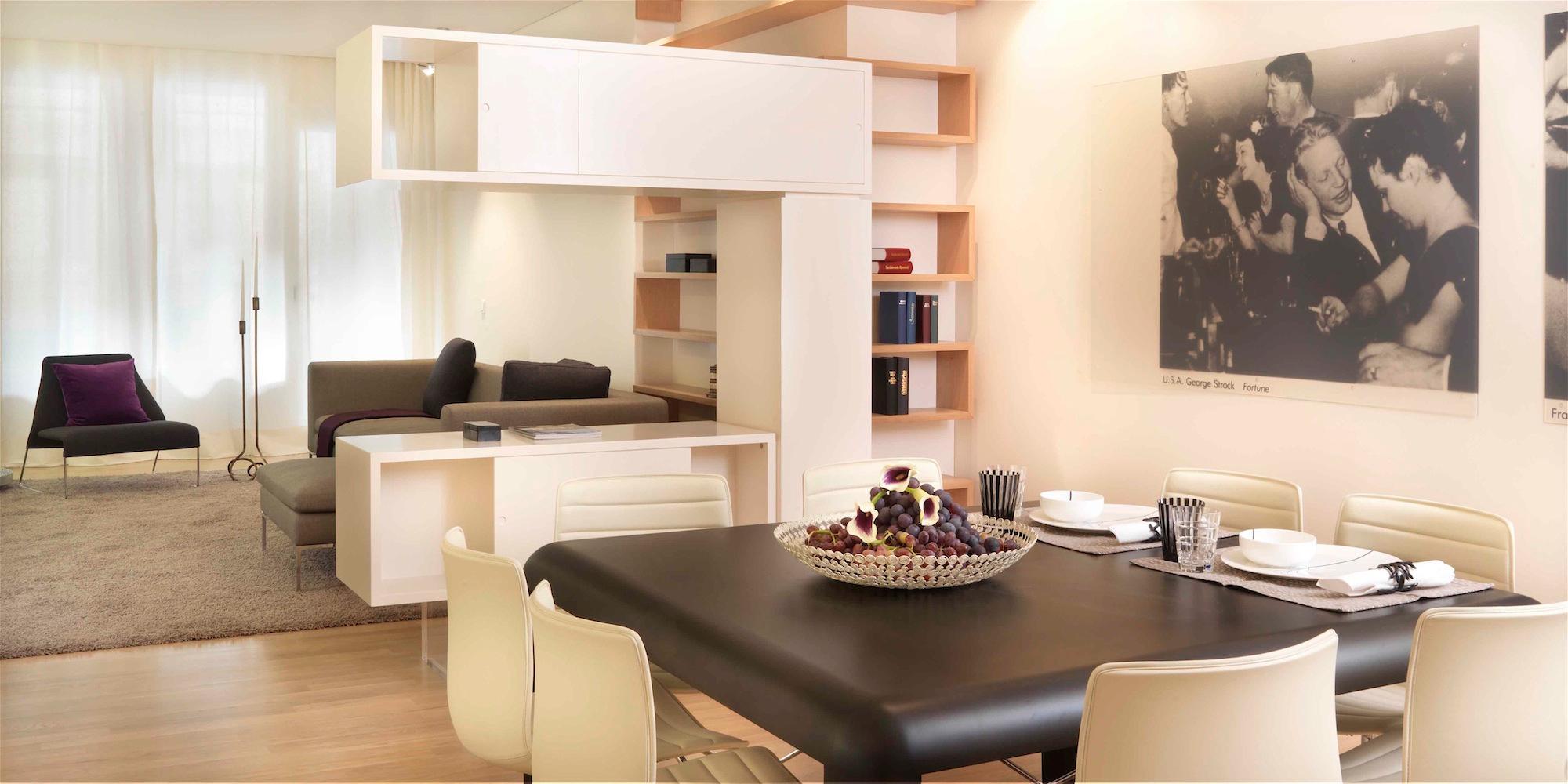 Exclusives Loft Bcherregal Esstisch Sideboard Indirektebeleuchtung Offenekche Tisch