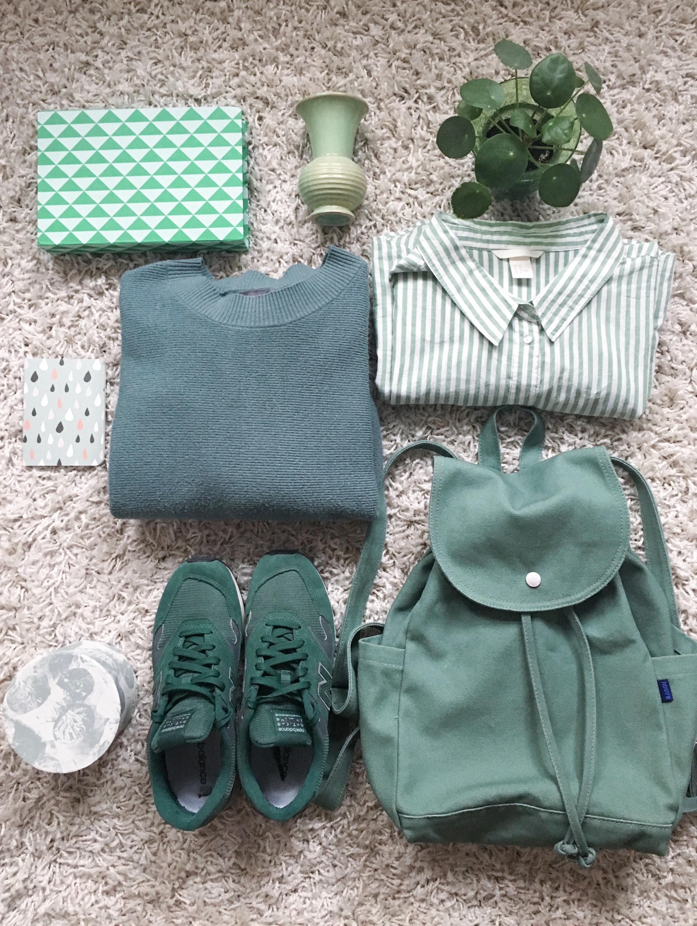 Flatlay green outfit accessoires hm spring pilea  c91288b4 6394 4732 afcf 254213bd4fd8