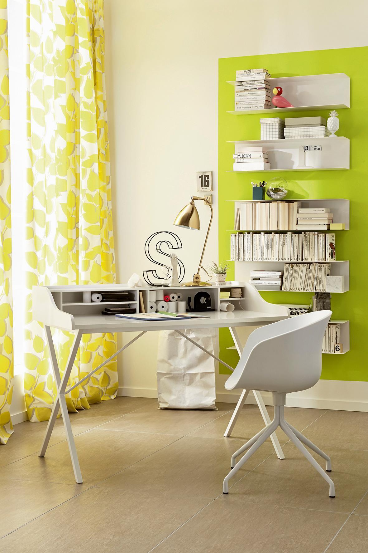 Fresh, SCHÖNER WOHNEN Trendfarbe #büro #wandfarbe #schreibtisch  #arbeitszimmer #wandgestaltung