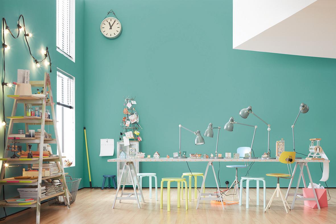 Frozen, SCHÖNER WOHNEN Trendfarbe #büro #wandfarbe #arbeitszimmer # Wandgestaltung #stehlampe