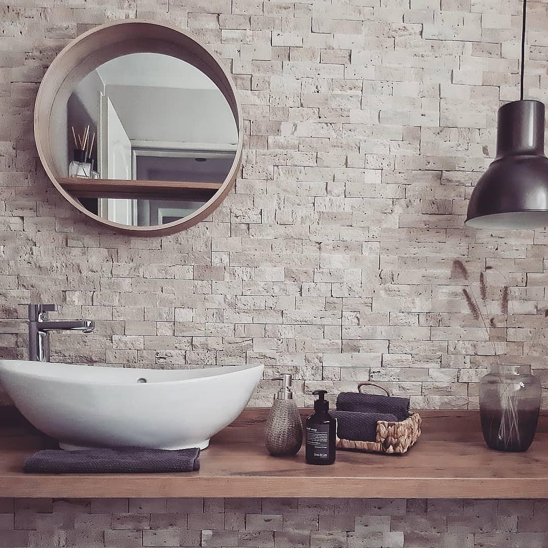 Gäste-WC-Liebe 😊 #gästewc #steinwand #bad #badezimme...