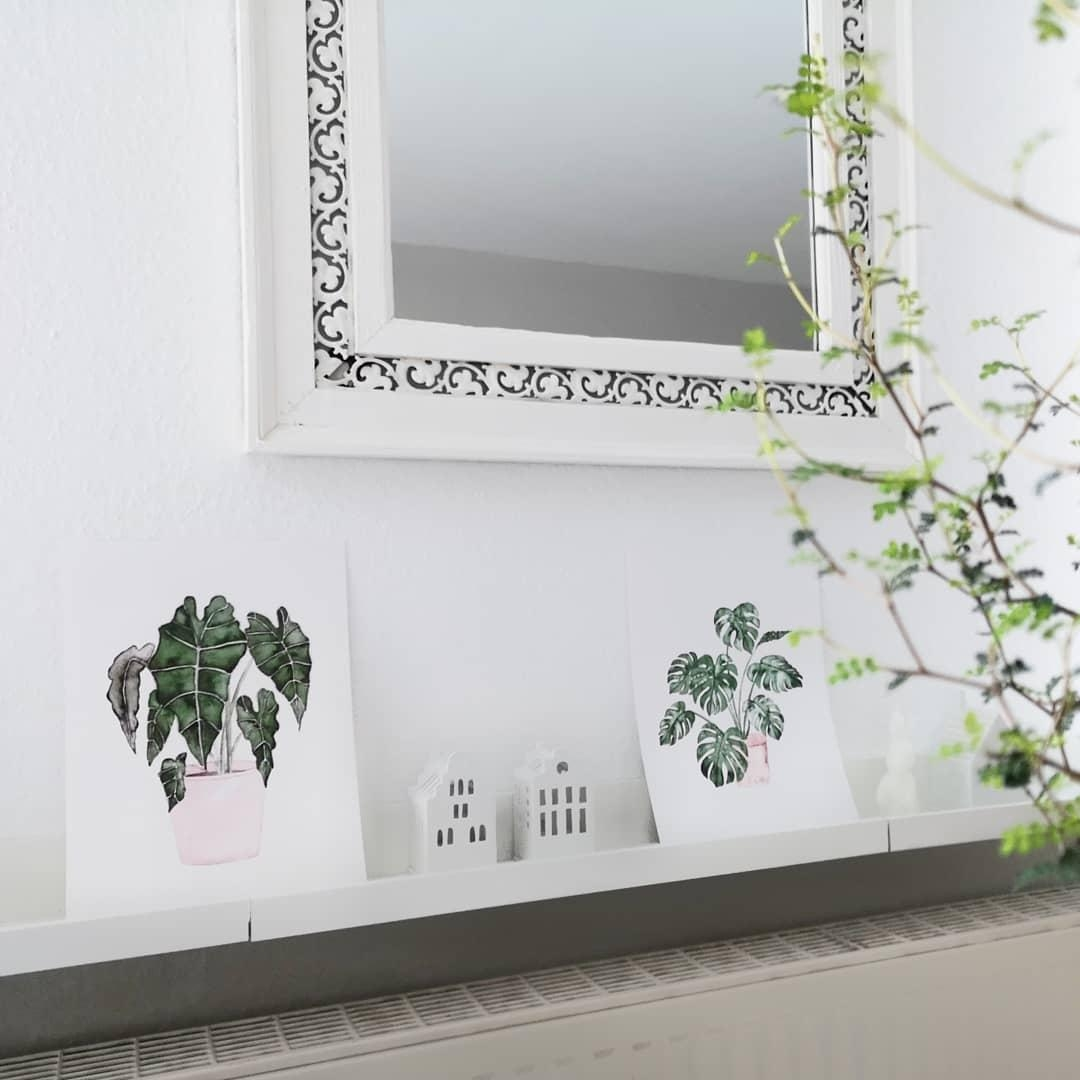 #gallerywall #livingchallenge #scandidesign #whitehome #art @frollein_schmid #watercolor #plants #monstera #myhome