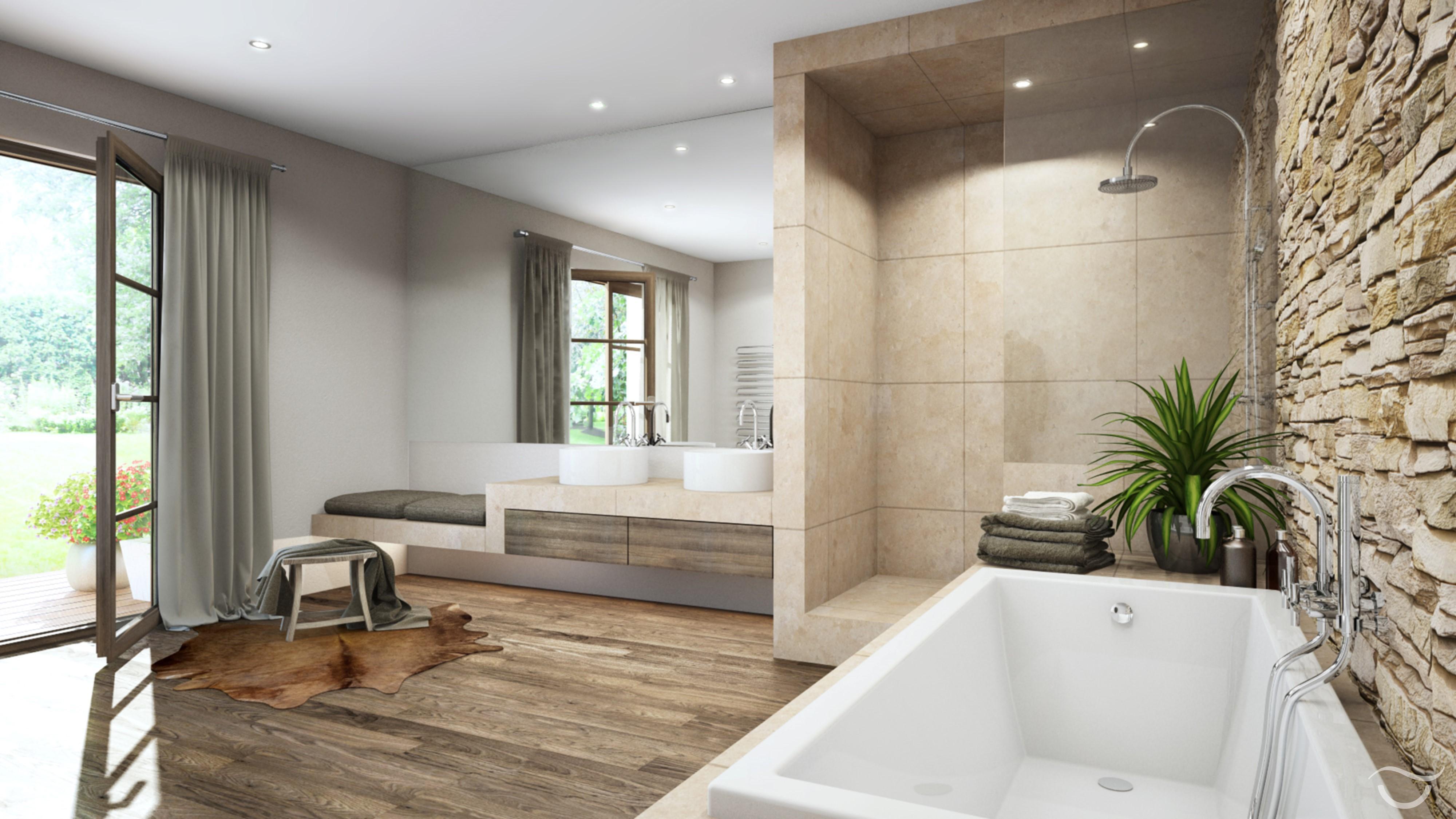 Gemütliche Atmosphäre Durch Naturmaterialien Im RUSTICO Design #badewanne # Badezimmer #steinwand #rustikal