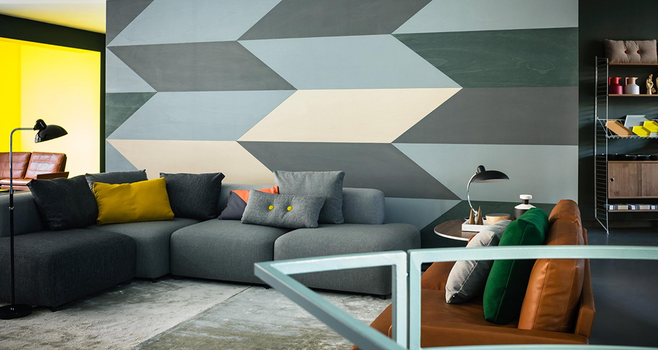 Geometrisches Muster Als Wandgestaltung Retro Lede