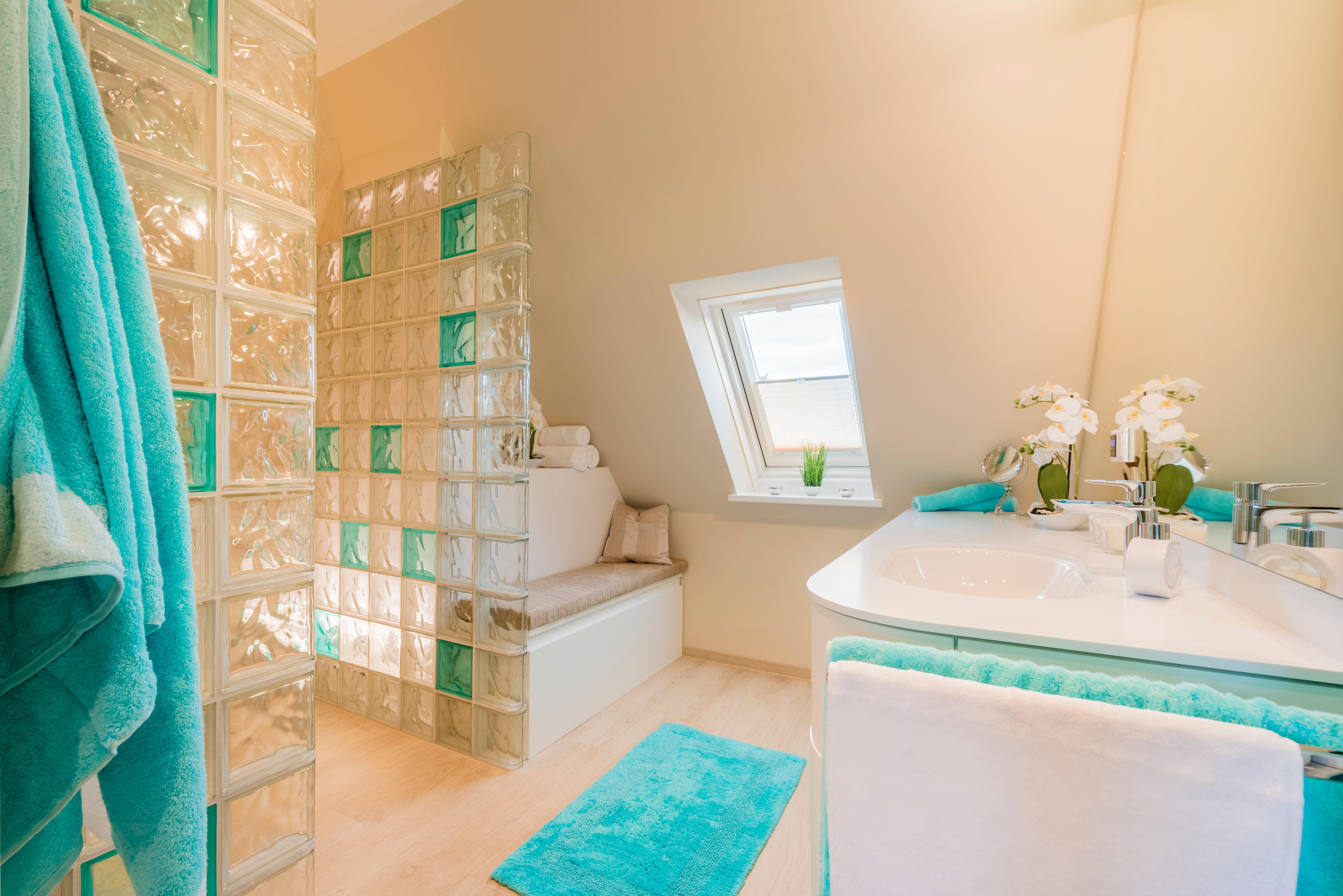 Glasbausteine im Bad. #glasbausteine #badezimmer #fu...