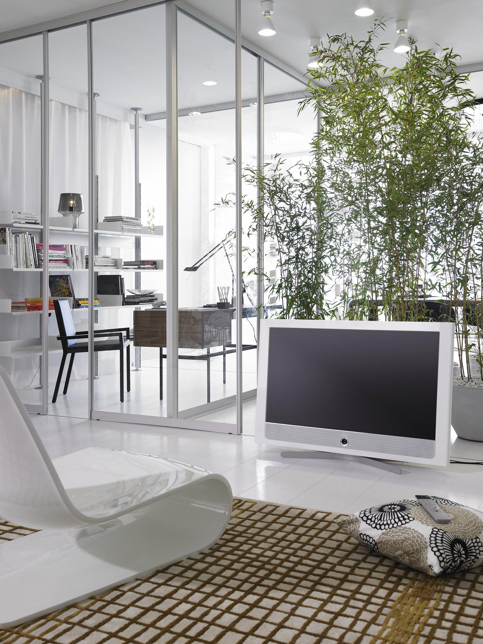 Glaswand Als Eleganter Raumtrenner #bambus #wohnzimmer #glaswand ©raumplus