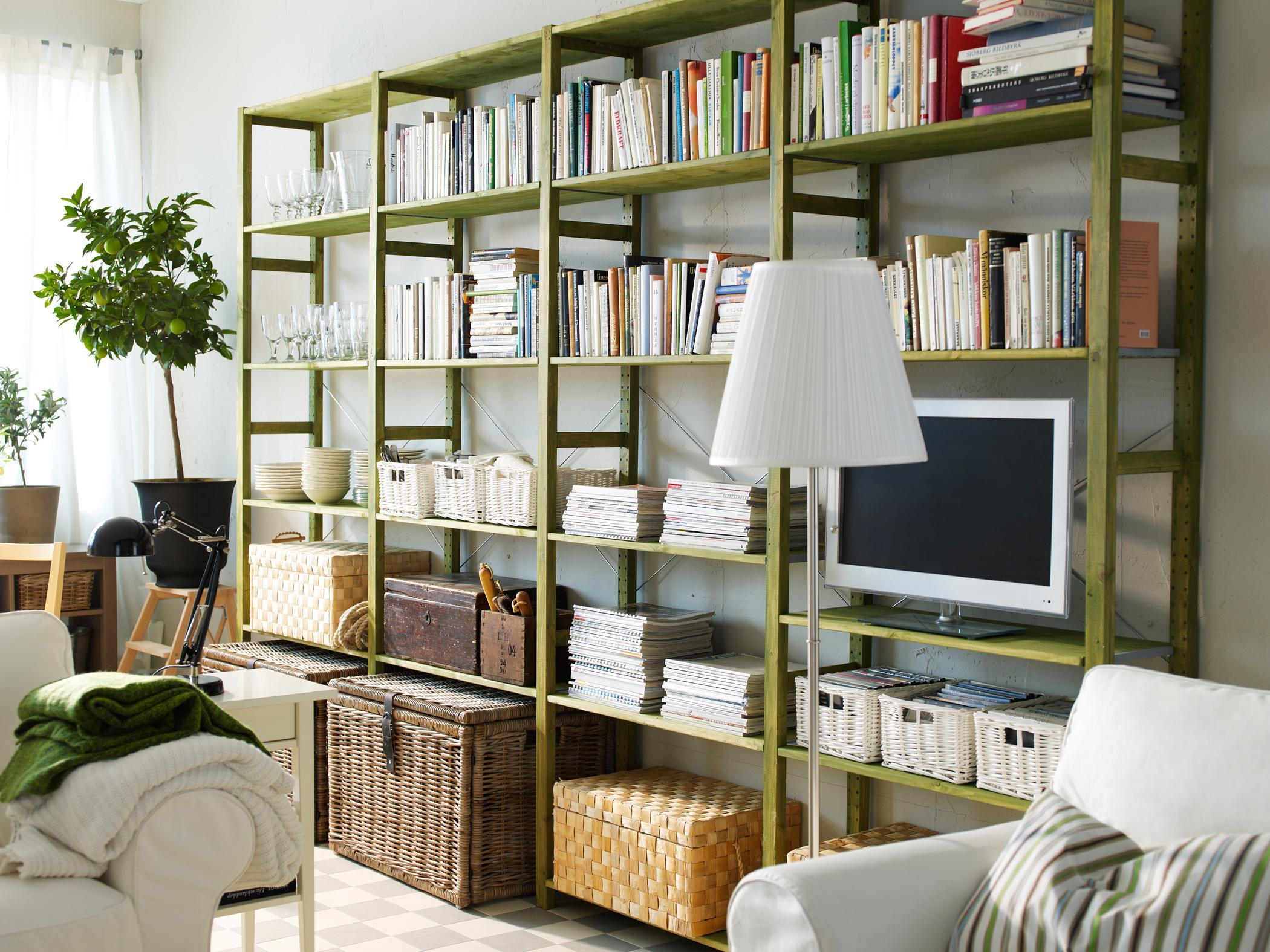 Grnes Regalsystem Im Wohnzimmer Ikea Regalwand Ikearegal Wohnwand