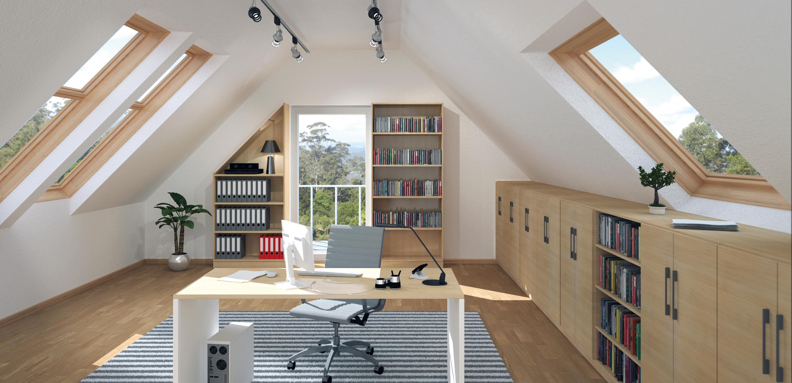 heimbüro #dachschräge #regal #arbeitszimmer ©deinsch
