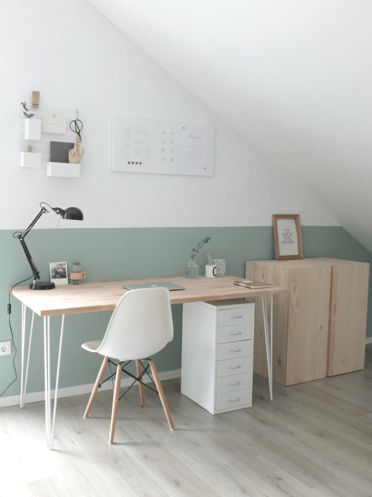 Home Office im Scandi-Look ♡ #scandi #hairpinlegs #homeoffice #green