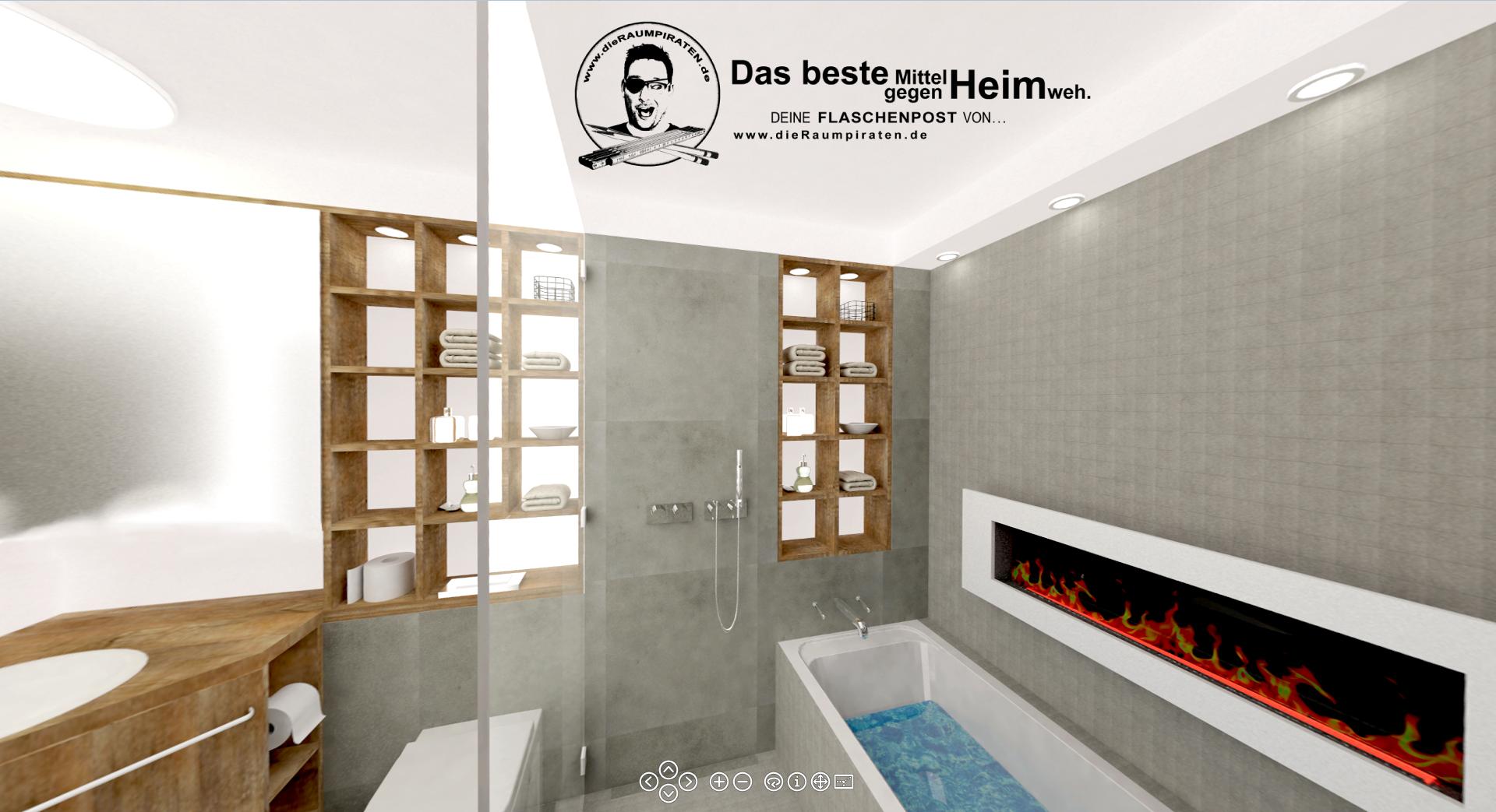 Uberlegen Innenliegendes Bad Ohne Fenster Mit Vielen Spiegeln, Kamin Und Schlau  Eingeplantem Licht.