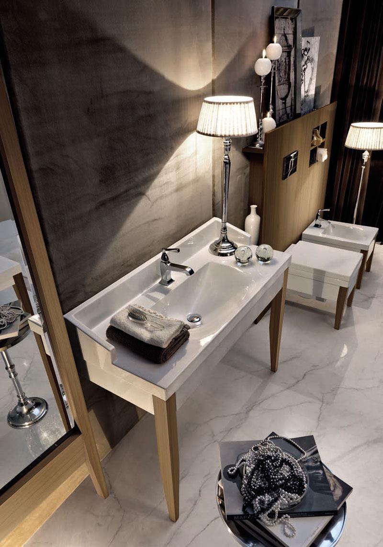 Keramik Und Holz   Aparte Optische Akzente Im Badezimmer #retro #waschtisch  #waschbecken ©
