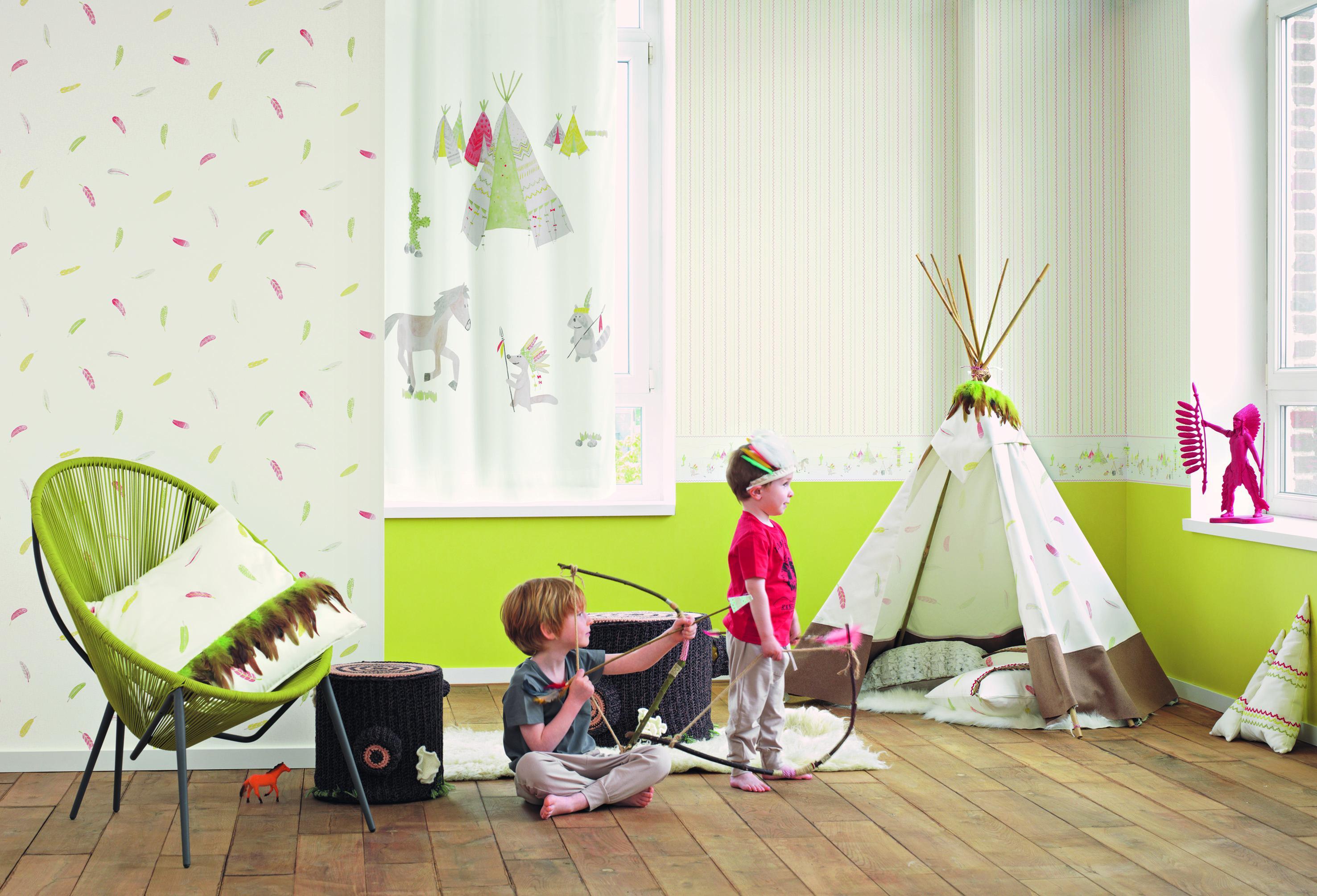 Kinderzimmer Mit Indianermotiv #jungenzimmer #wandgestaltungkinderzimmer  ©Casadeco