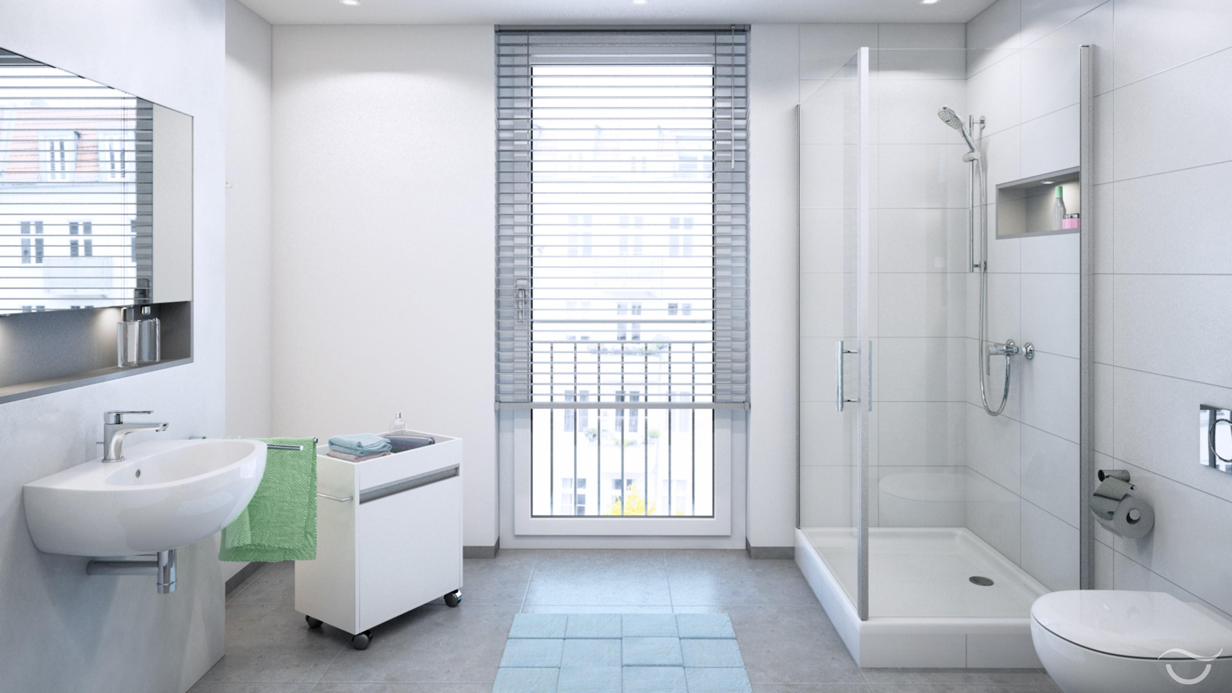 Klassisches Und Modernes Badezimmer Design #dusche #kommode #wandspiegel  ©Banovo GmbH